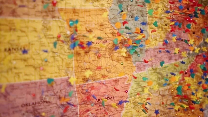 Stock video of wall map of united states of 11120600 Shutterstock - pins on a map