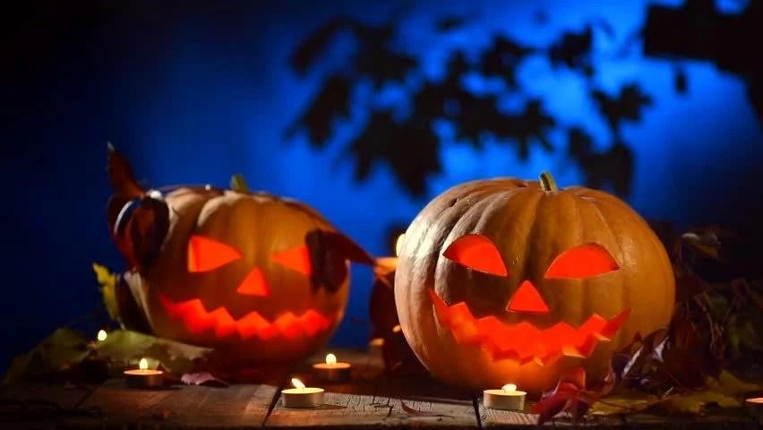 Fall Pumpkin Wallpaper Hd Halloween Pumpkin Head Jack Lantern With Burning Candles