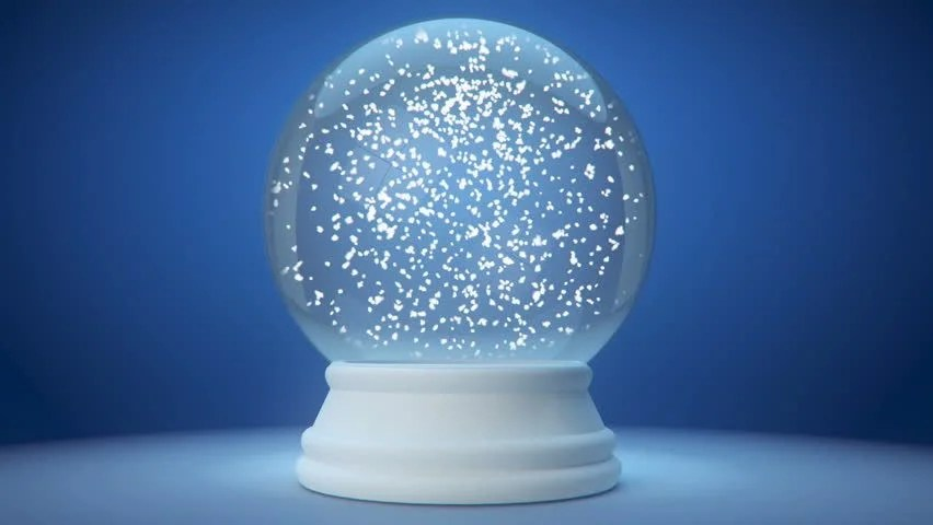 Scary 3d Wallpaper Snowglobe Animation On A Blue Gradient Background Stock