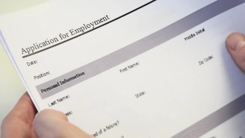 Job Applicant with Employment Form Stock Footage Video (100