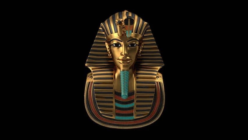 As Royal Decor 3d Wallpaper King Tut Sarcophagus Rotating Over Black Background