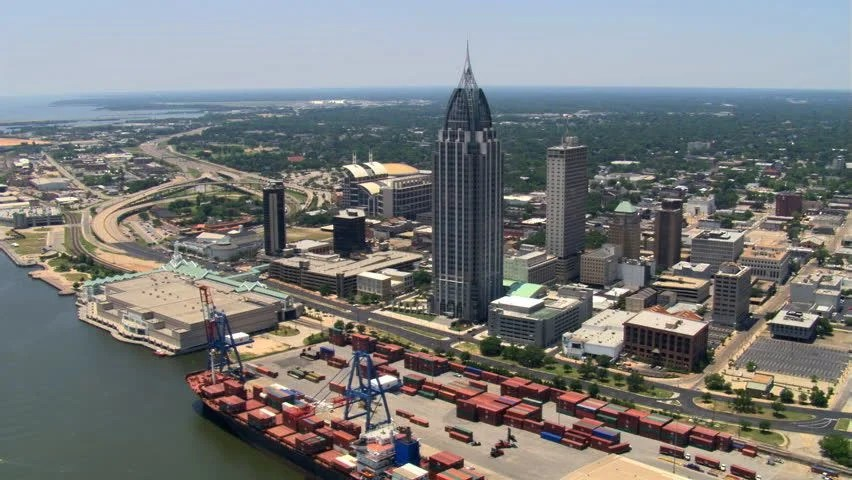 Mobil L Orbit Of Downtown Mobile, Alabama, Stock Footage Video