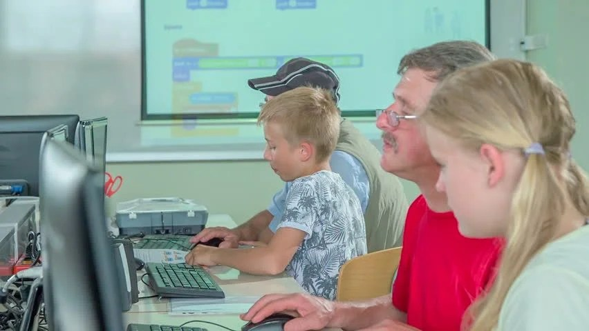 Two Different Generations are Learning Stock Footage Video (100