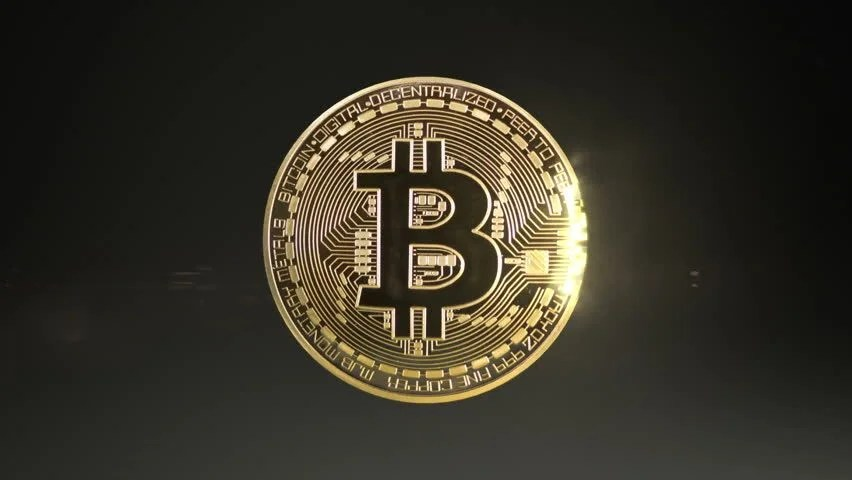 Wallpaper Black Gold 3d Rotating Bitcoin On A Green Background Seamless Looping