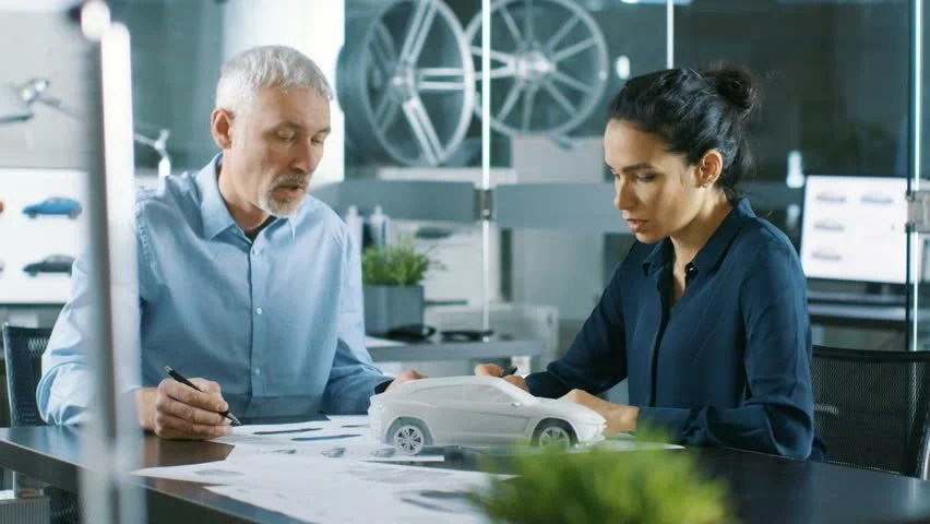 Experienced Automotive Designer and Female Stock Footage Video (100
