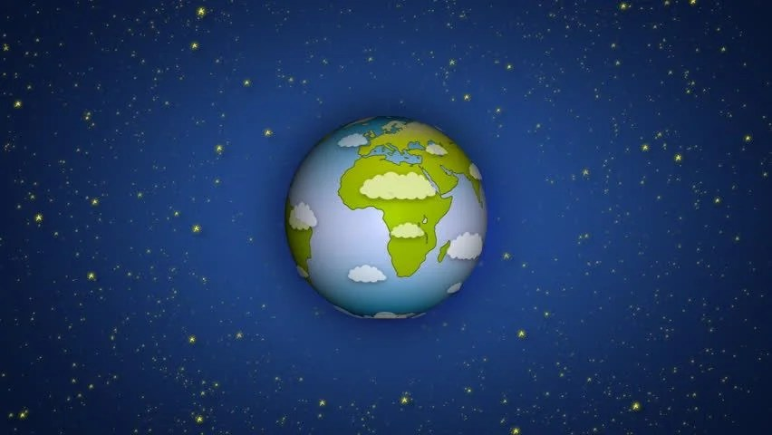 Blue Sky 3d Wallpaper Cartoon Earth Zoom In Animation Hd Loop Able Stock