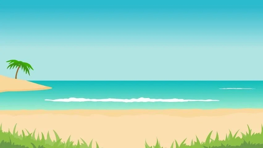 Stock video of animation of tropical landscape - beach, 1447414
