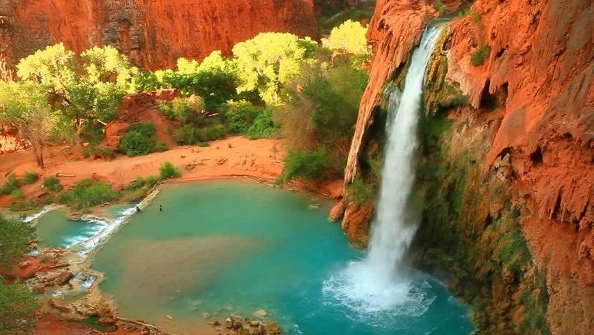 Havasu Falls Arizona Wallpaper Stock Video Of Havasu Falls In Arizona At Grand 7152040