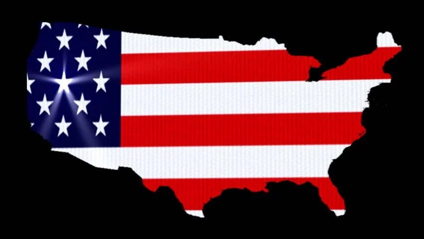 American Map with Animated Flag Stock Footage Video (100