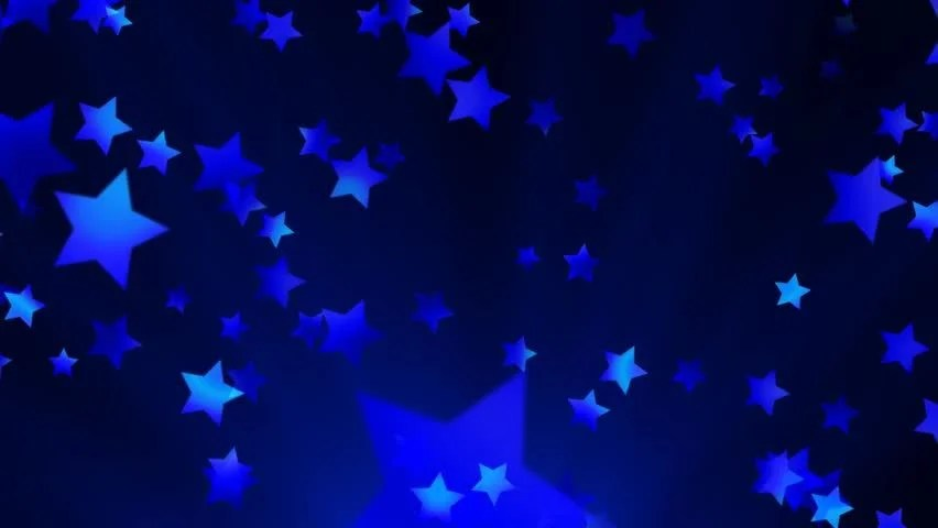 Multiple blue shooting stars against a blue and black background
