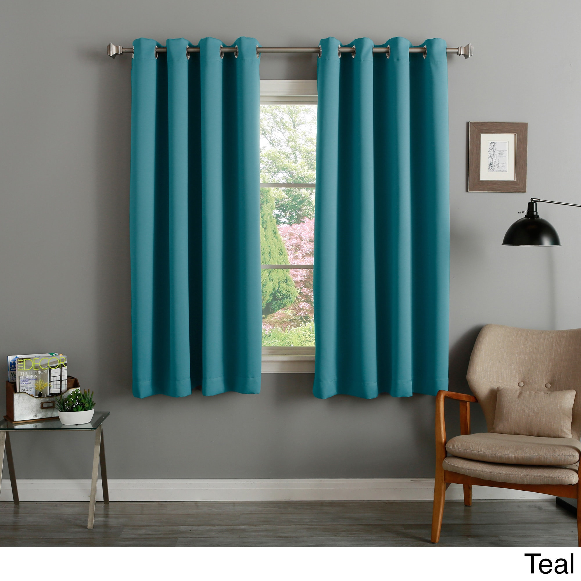 Teal Blackout Curtains Aurora Home Silver Grommet Top 63 Inch Blackout Curtain Pair 52 X 63