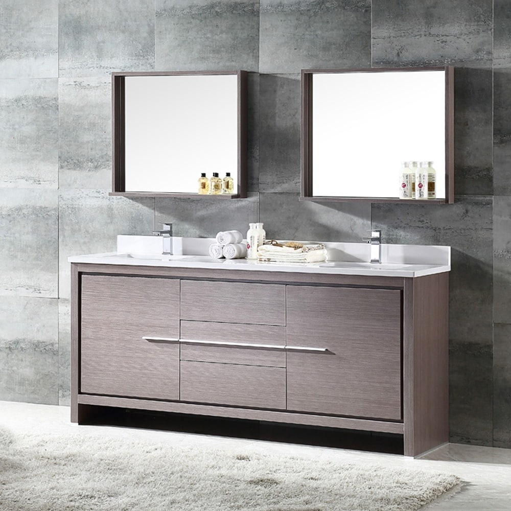 Bathroom Vanity 72 Double Sink Fresca Allier 72 Inch Grey Oak Modern Double Sink Bathroom Vanity With Mirror