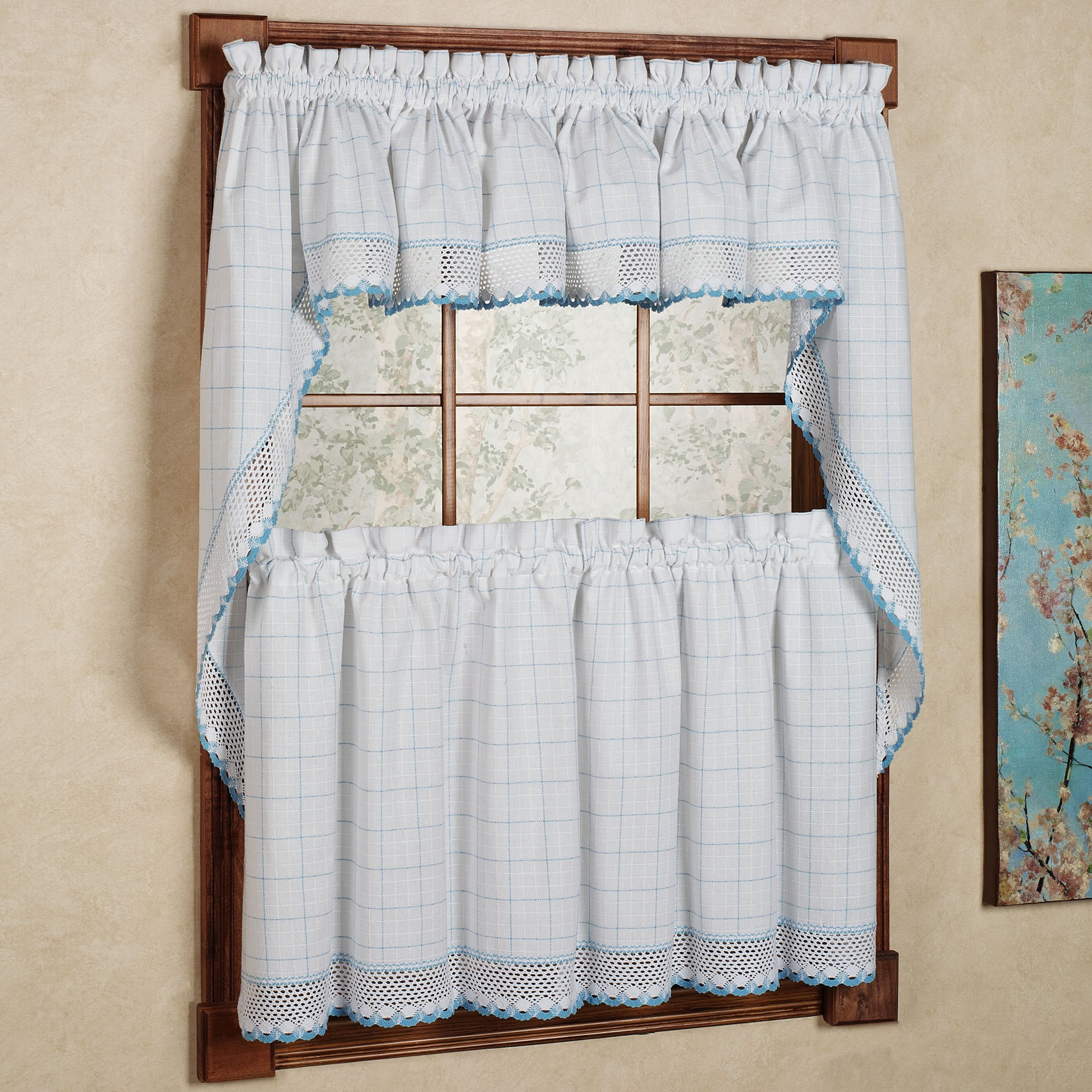 Patterns For Kitchen Curtains And Valances Cotton Classic White Blue Window Pane Pattern And Crotchet Trim Tiers Swags And Valance Options