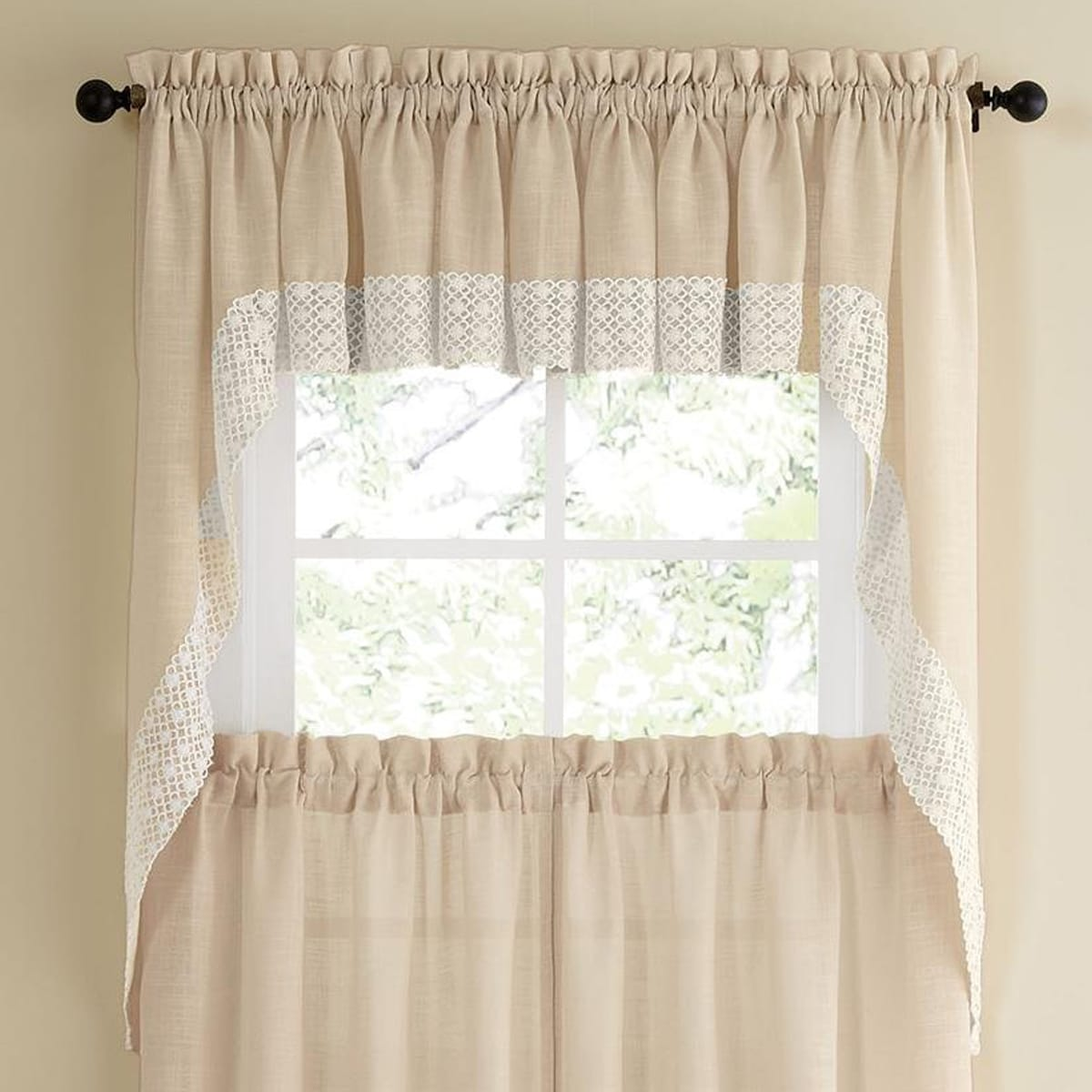 French Lace Curtains French Vanilla Country Style Curtain Parts With White Daisy Lace Accent Tier Swag And Valance Options