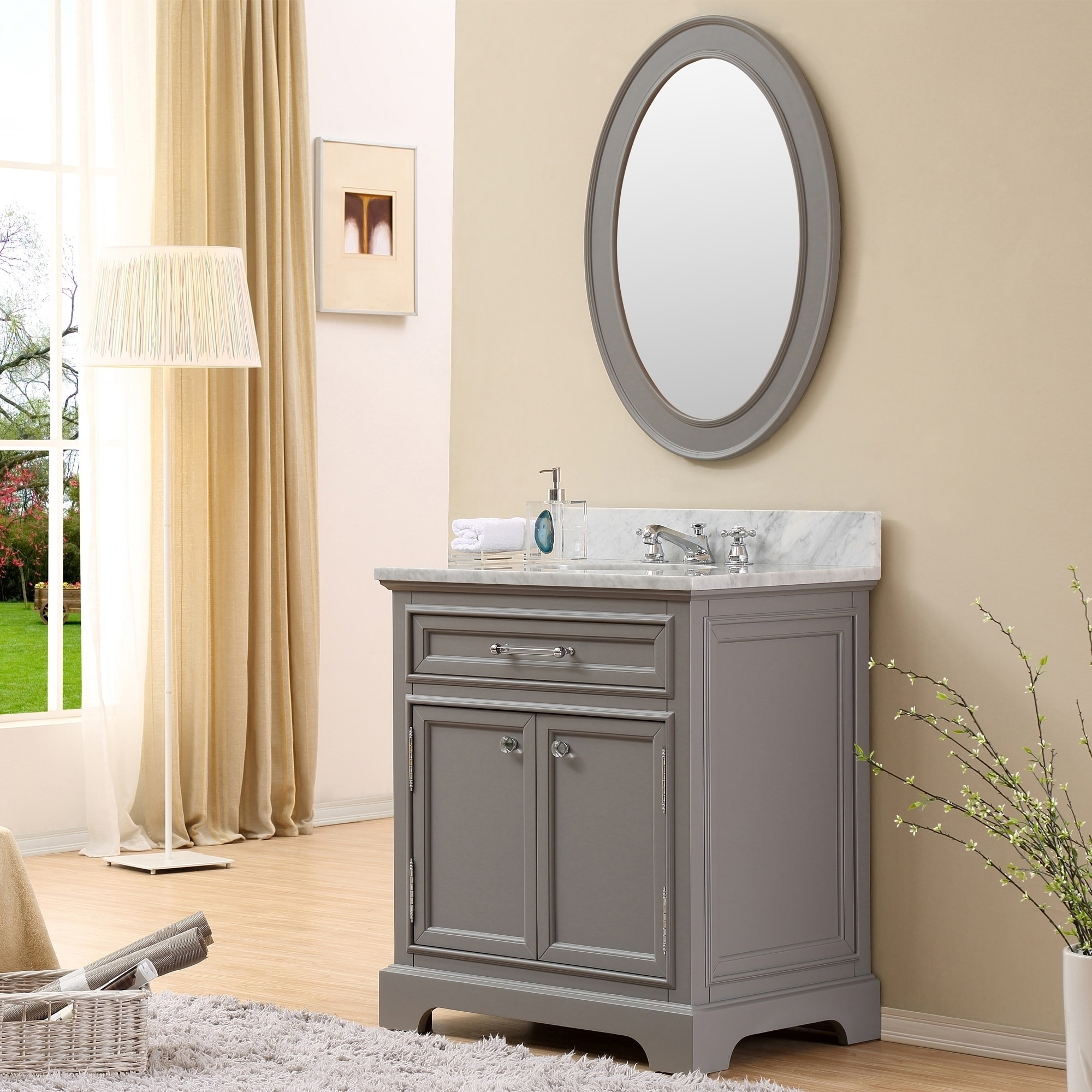 Bathroom Vanity 30 Inch Water Creation Derby 30 Inch Cashmere Grey Single Sink Bathroom Vanity With Matching Framed Mirror
