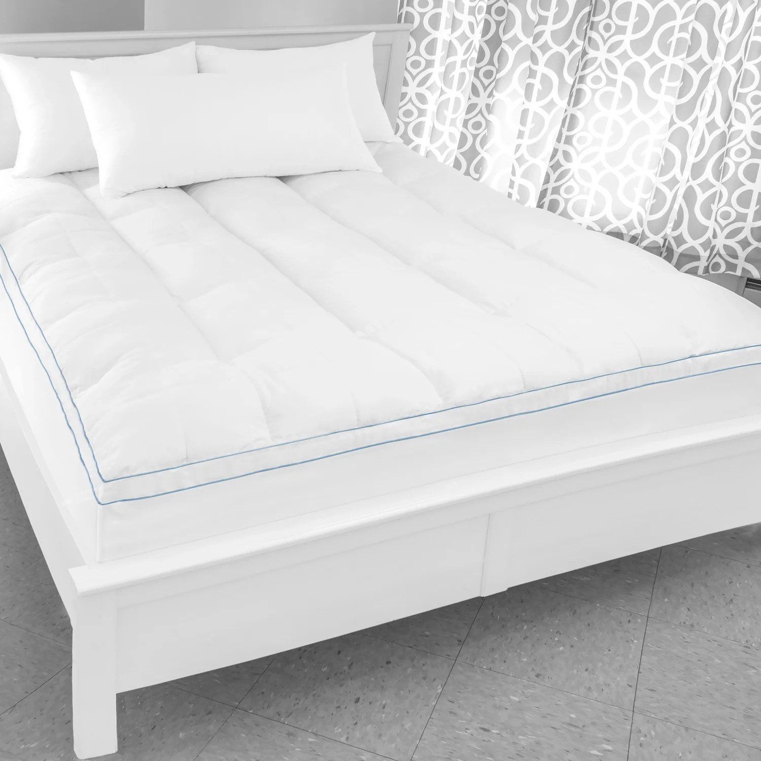 Tempurpedic Pillow Tops Swisslux Supreme Memory Foam And Fiber Bed Topper With Skirt