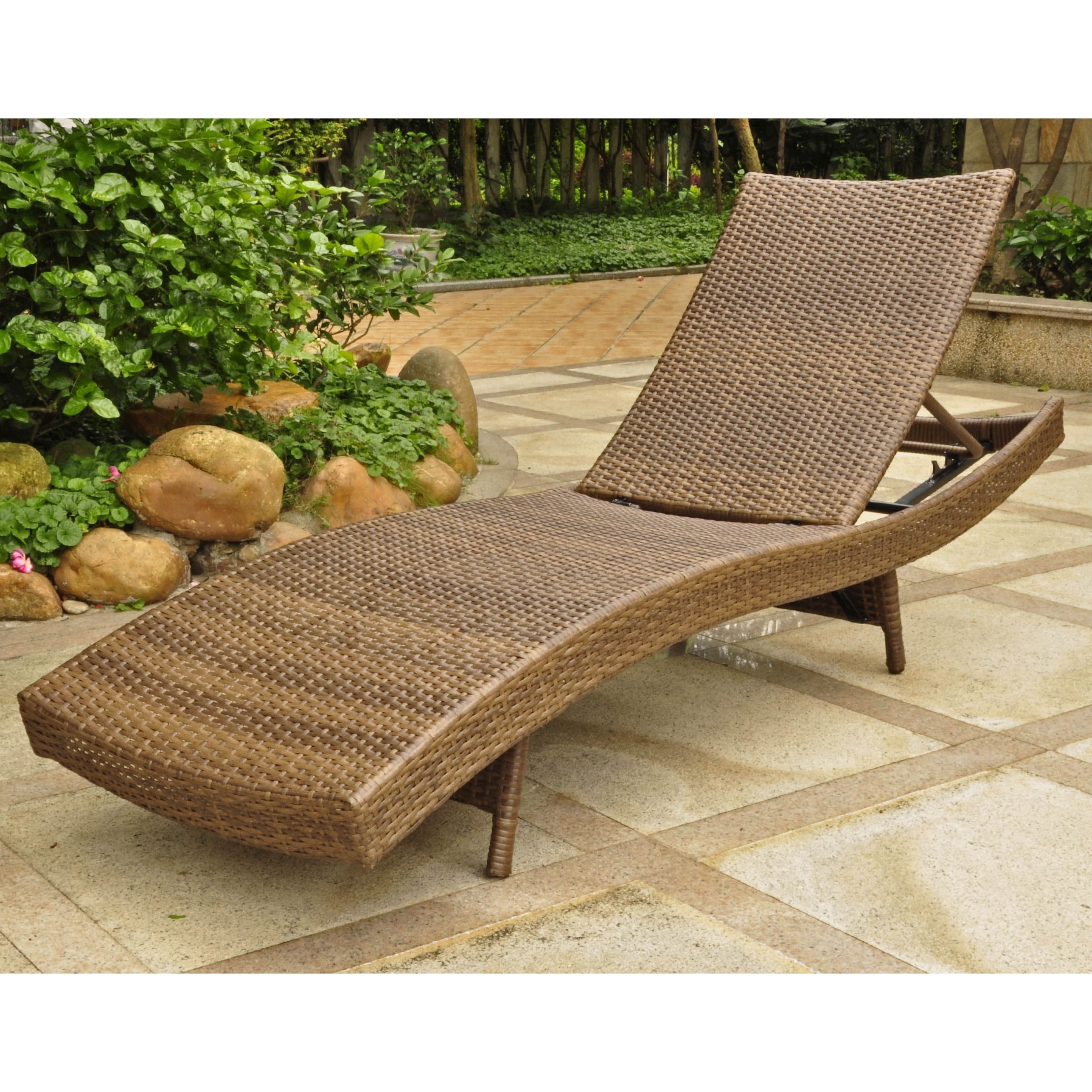 Chaise Barcelona International Caravan Barcelona Outdoor Resin Wicker Aluminum Multi Position Chaise Lounge