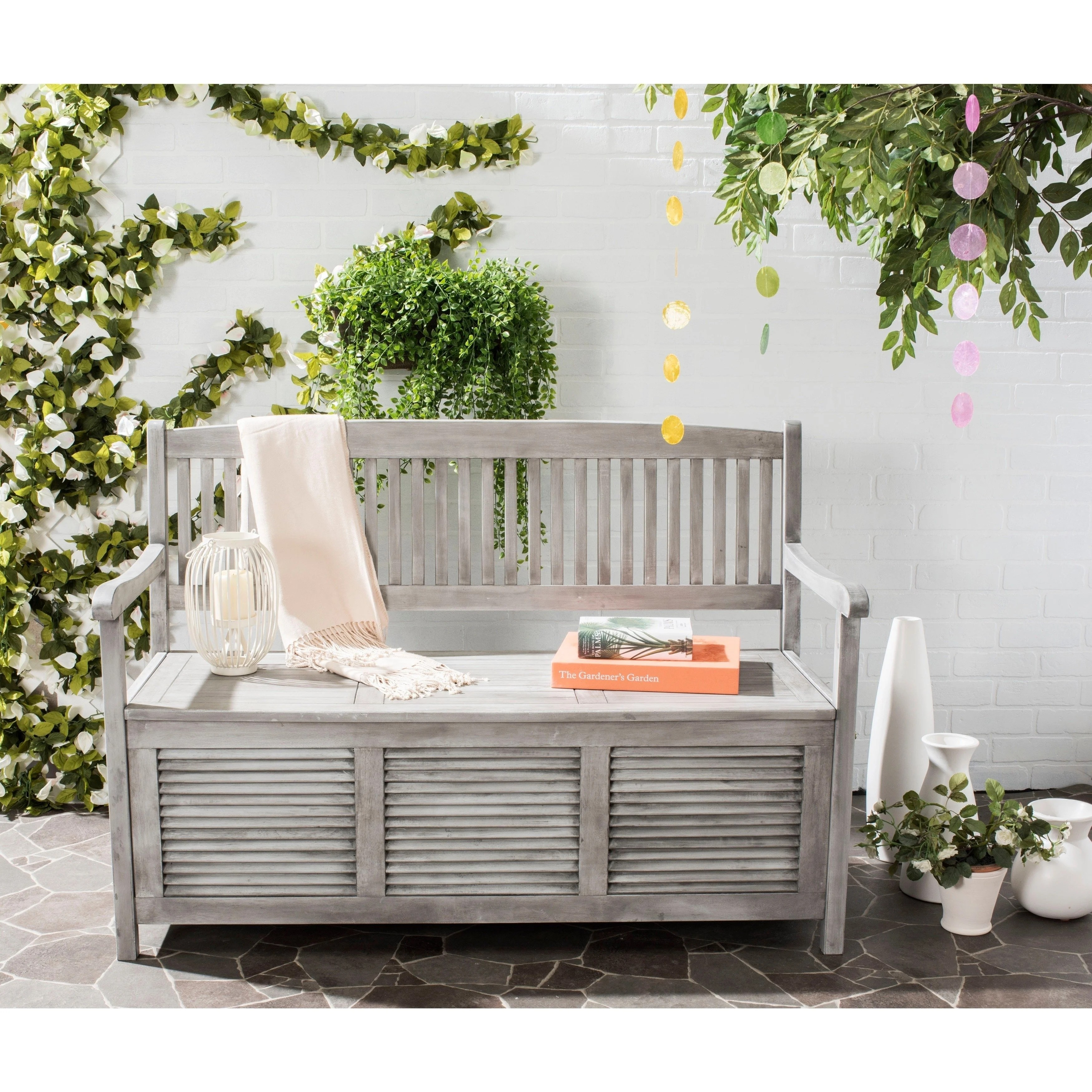Lounge Clearance Brisbane Safavieh Outdoor Living Brisbane Grey Storage Bench 50