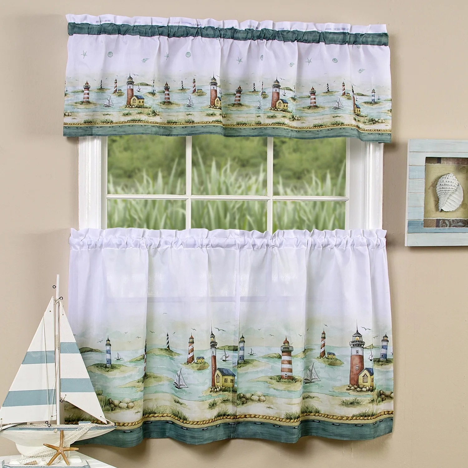 Traditional Curtains Traditional Two Piece Tailored Tier And Valance Window Curtains Set With Detailed Lighthouse Print 36 Inch