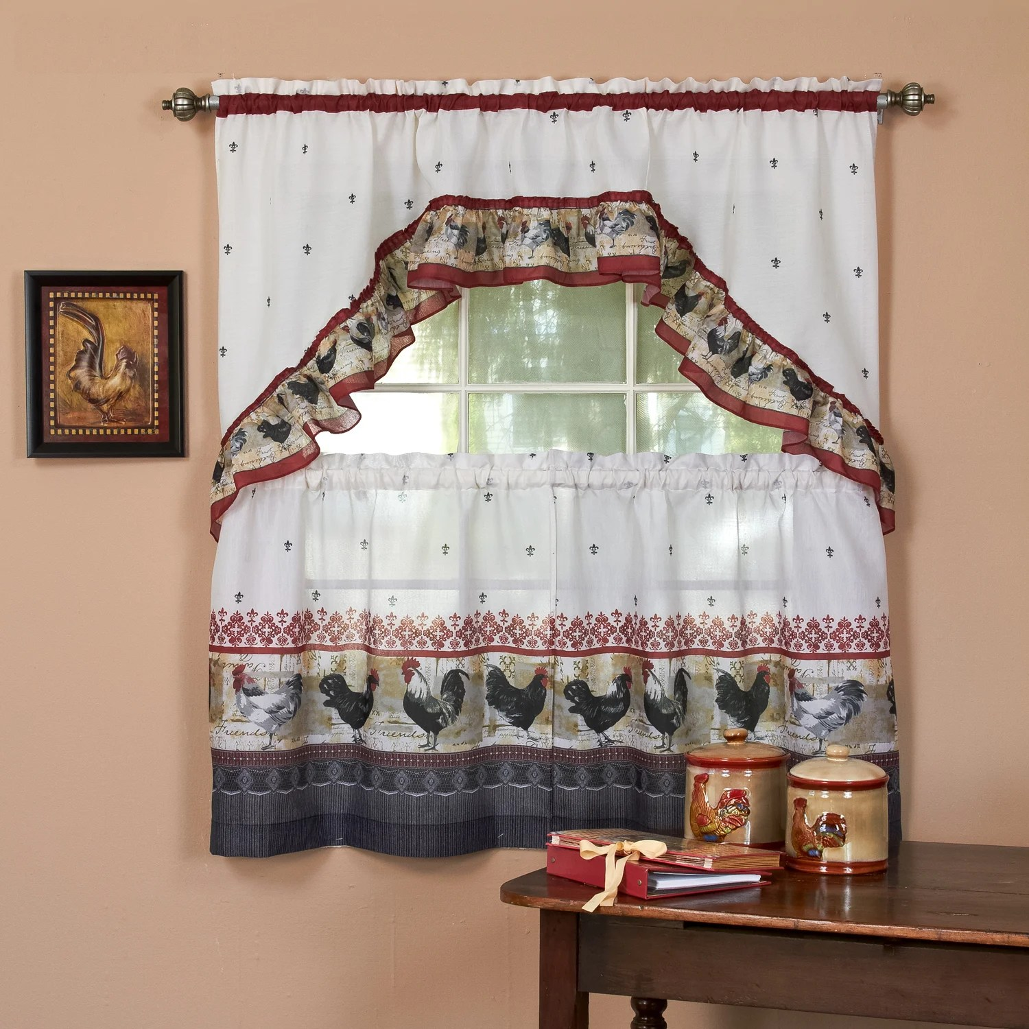 Traditional Curtains Traditional Two Piece Tailored Tier And Swag Window Curtains Set With Ornate Rooster Print 36 Inch