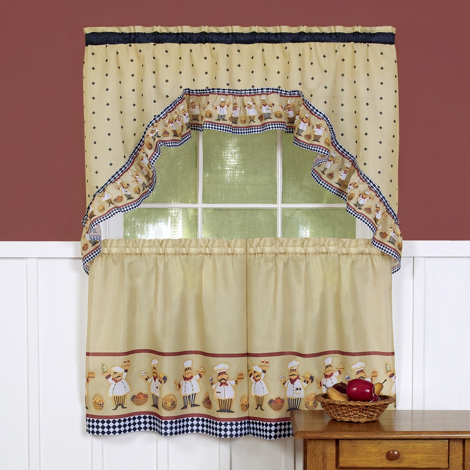 Traditional Curtains Traditional Two Piece Tailored Tier And Swag Window Curtains Set With Happy Chef Print 36 Inch