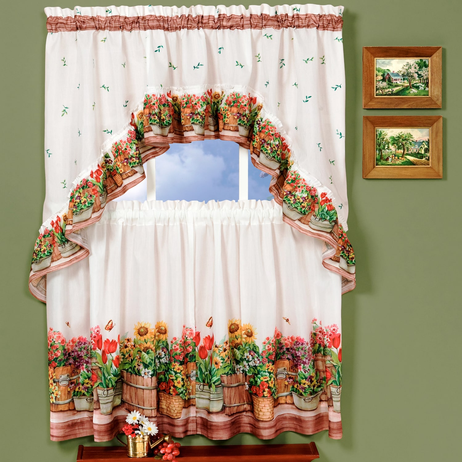 Traditional Curtains Traditional Two Piece Tailored Tier And Swag Window Curtains Set With Ornate Flower Garden Print 36 Inch