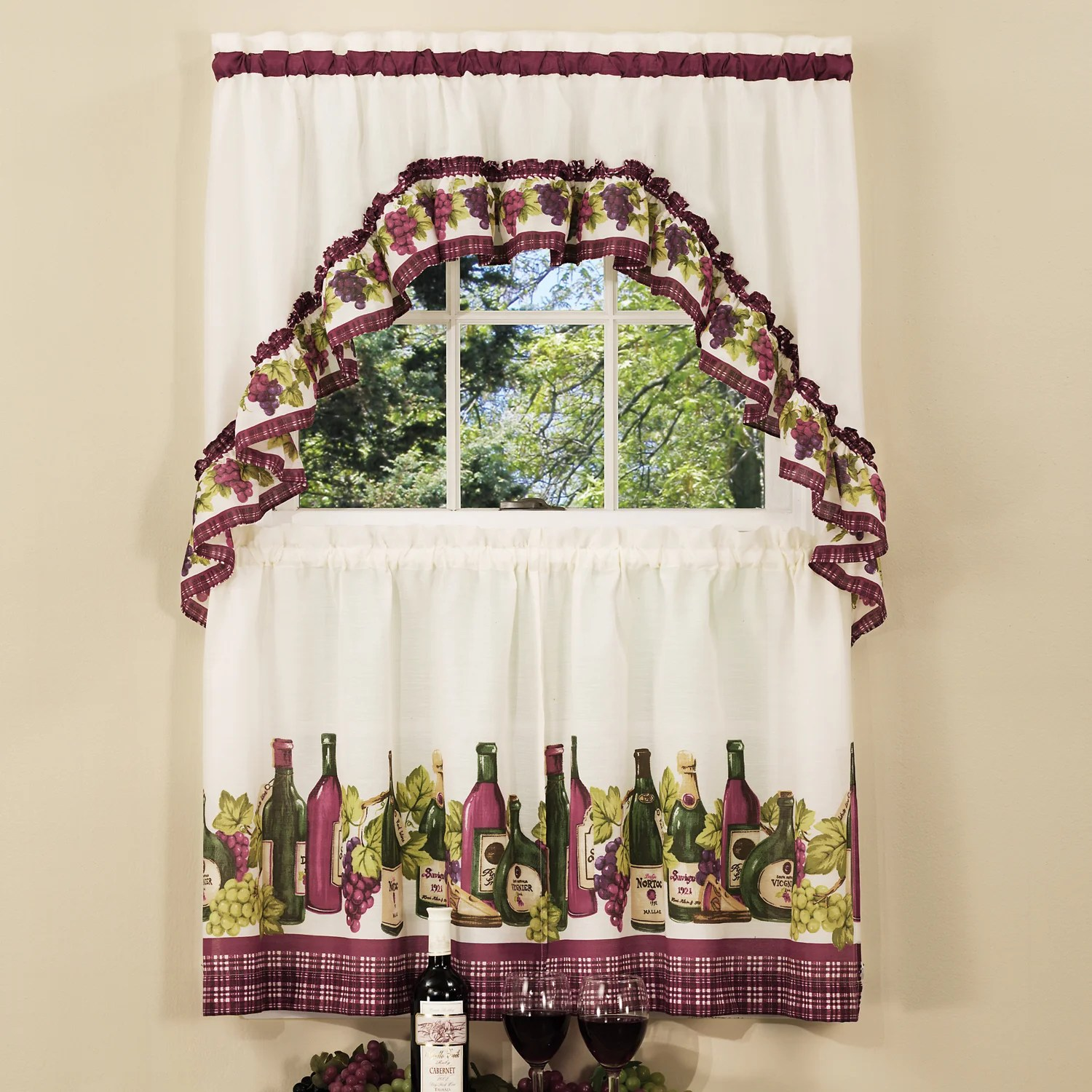 Traditional Curtains Traditional Two Piece Tailored Tier And Swag Window Curtains Set With Classic French Wine And Grapes Print 36 Inch