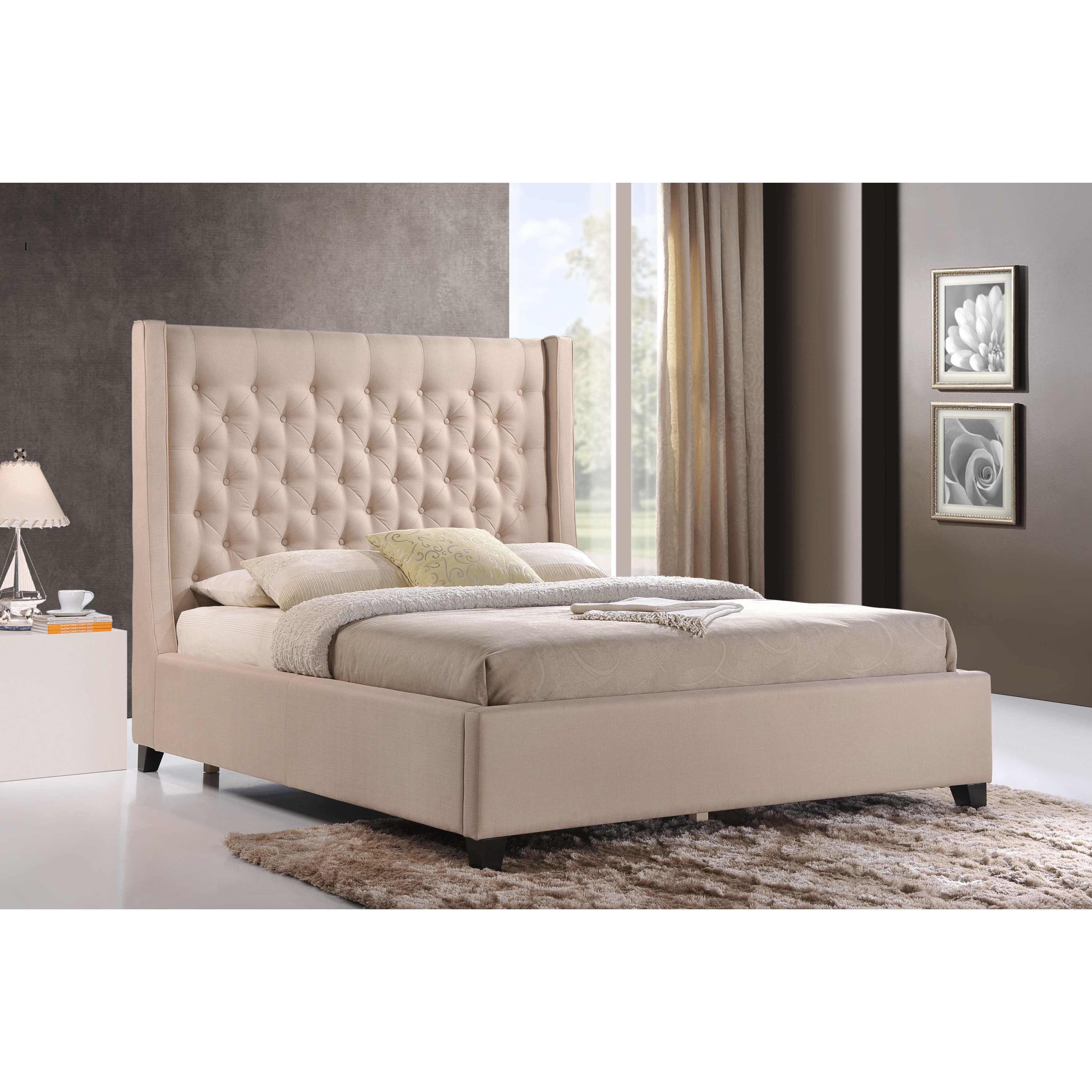 Huntington Bedroom Furniture Luxeo Huntington King Size Tufted Upholstered Bed In Sand Color Fabric