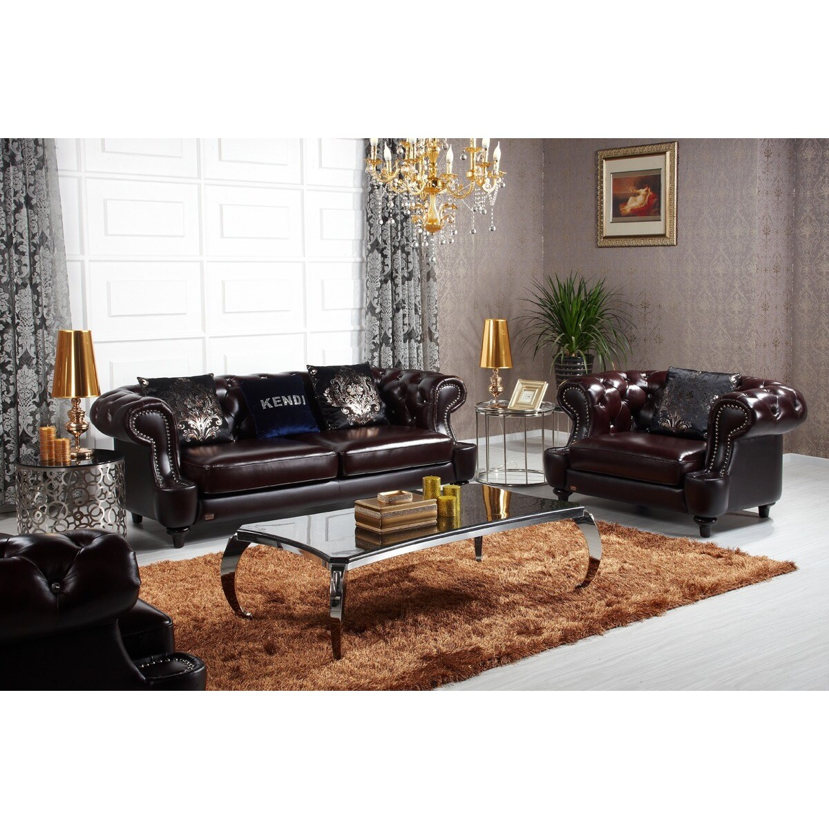 Italian Leather Sofa Set | Estro Salotti Evergreen Modern Black ...