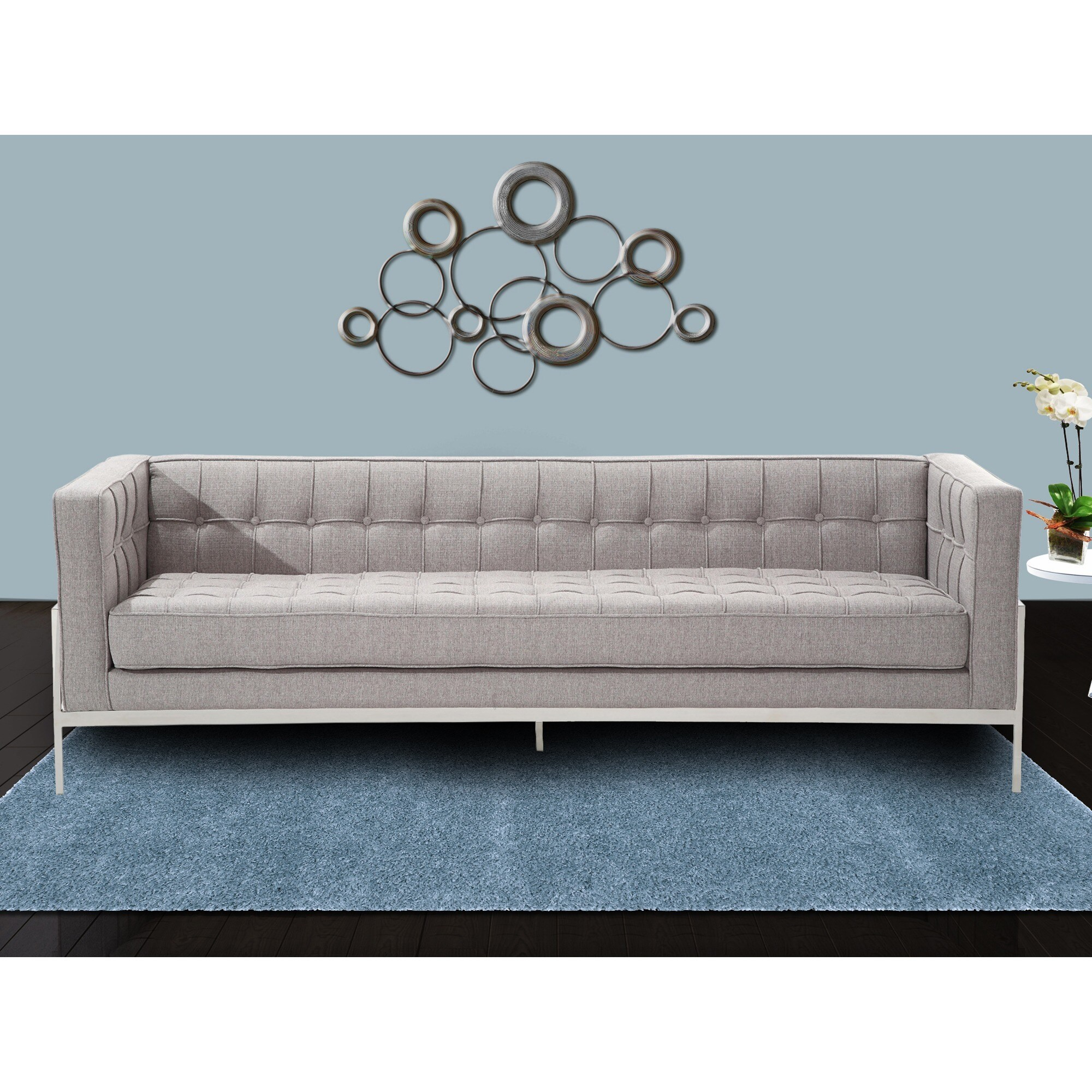 Contemporary Couch Armen Living Andre Contemporary Sofa In Grey Tweed And Stainless Steel