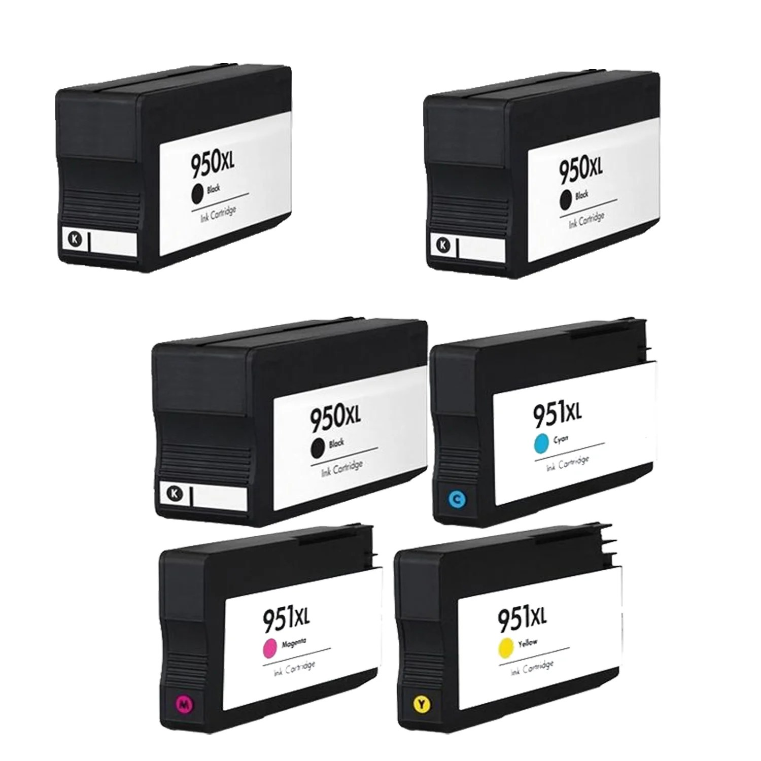950 Ink 6pk 950 Xl 3x Bk C M Y Cn045an Cn046an Cn047an Cn048an Compatible Ink Cartridge For Hp Officejet Pro 8100 Pack Of 6