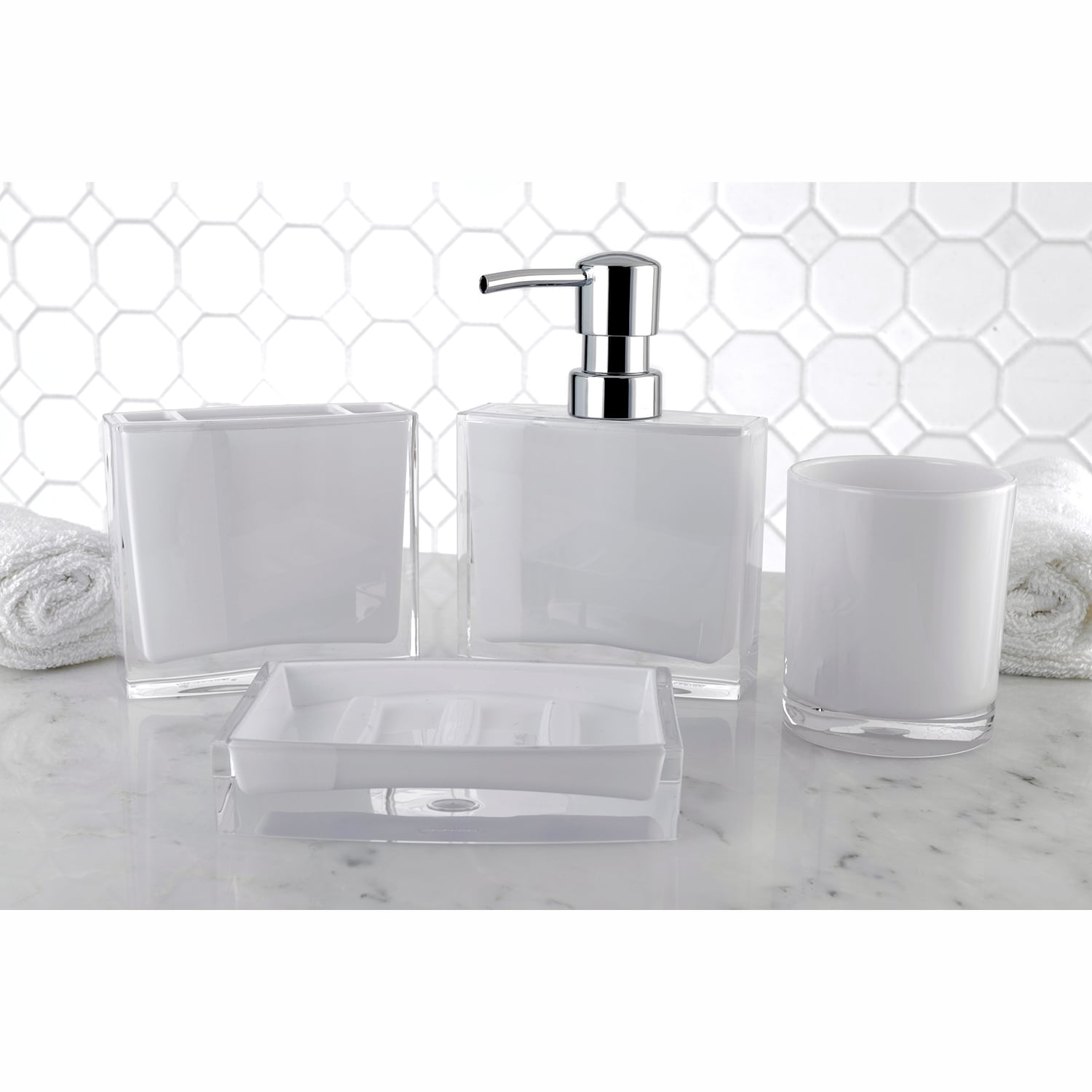 Bathroom Dispenser Set Modern White 4 Piece Bath Accessory Set