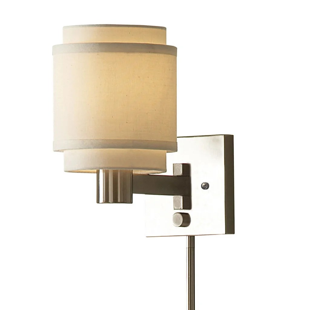Swing Wall Lamp Porch Den Quintero Transitional 1 Light Brushed Nickel Swing Arm Pin Up Plug In Wall Lamp