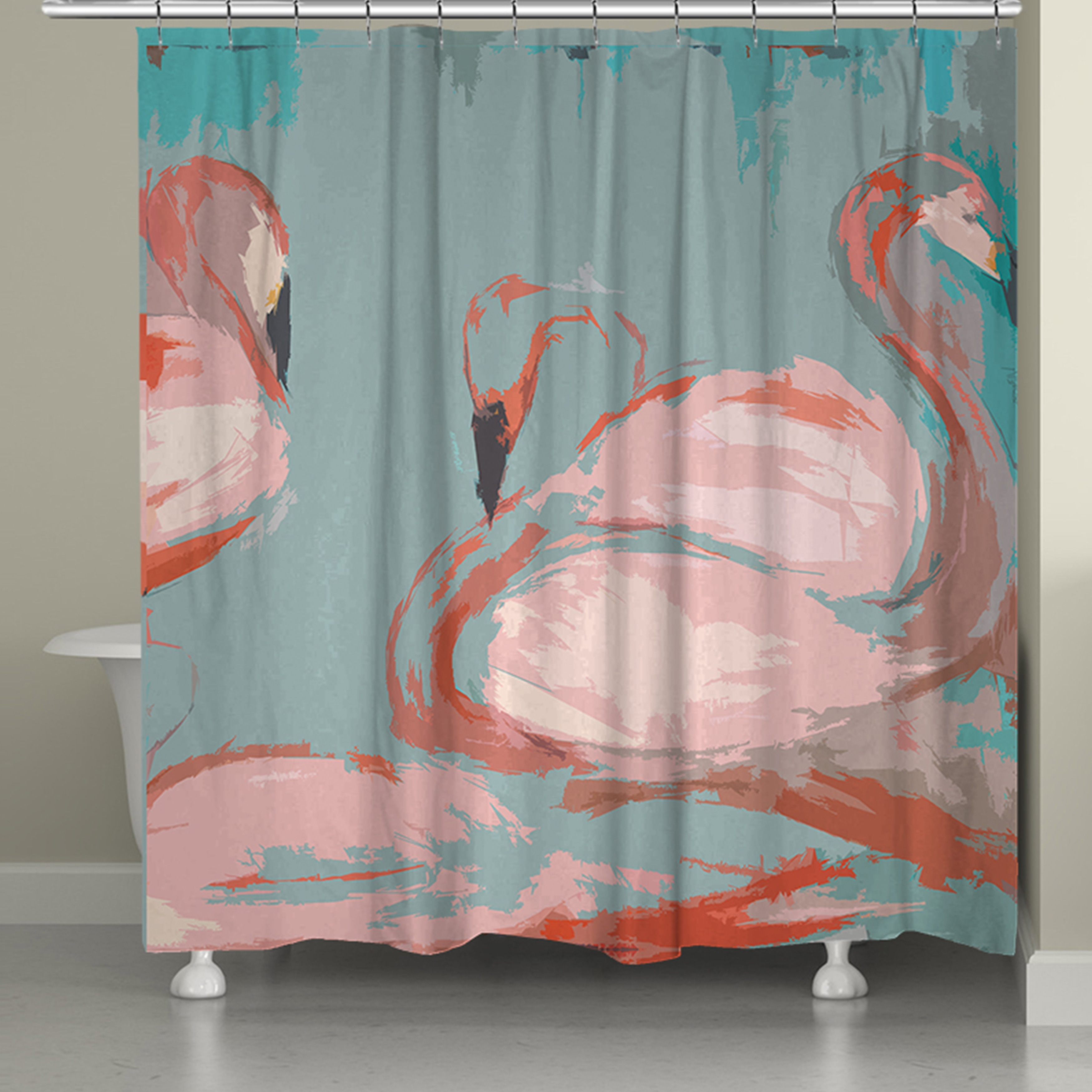 74 Shower Curtain Laural Home Pink Flamingos Shower Curtain 71 Inch X 74 Inch