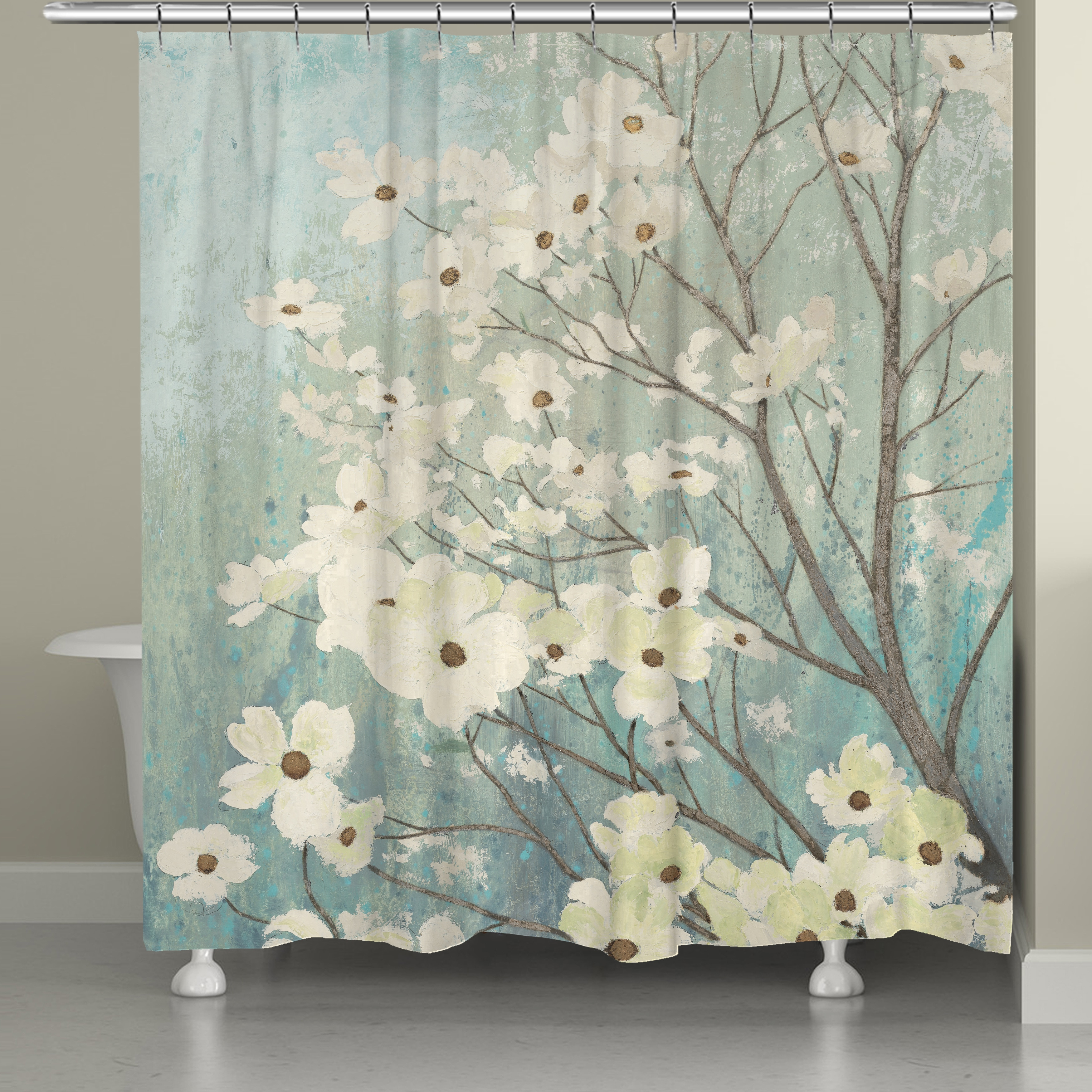 74 Shower Curtain Laural Home Flowering Dogwood Blossoms Shower Curtain 71 Inch X 74 Inch