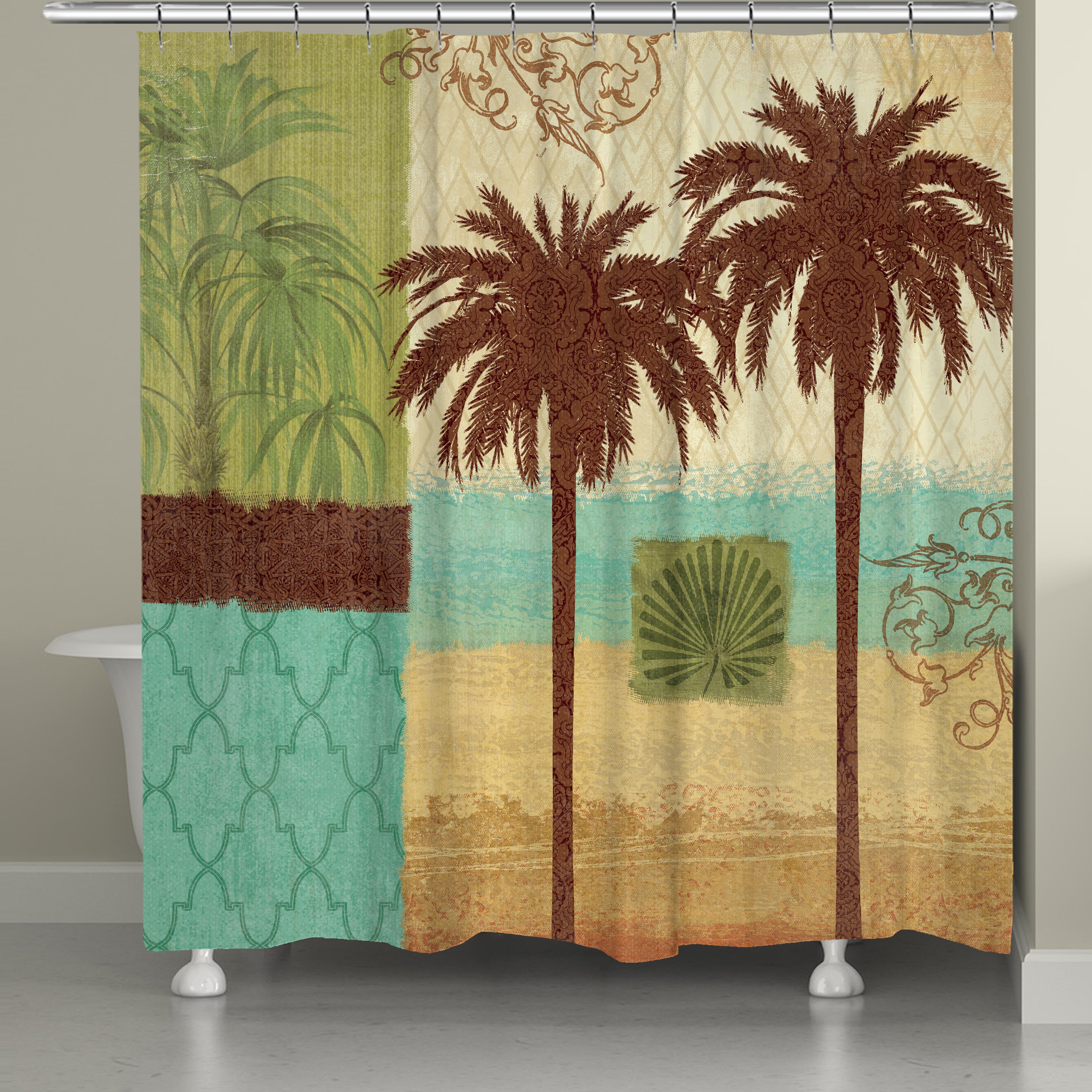 74 Shower Curtain Laural Home Palm Tree Resort Shower Curtain 71 Inch X 74 Inch