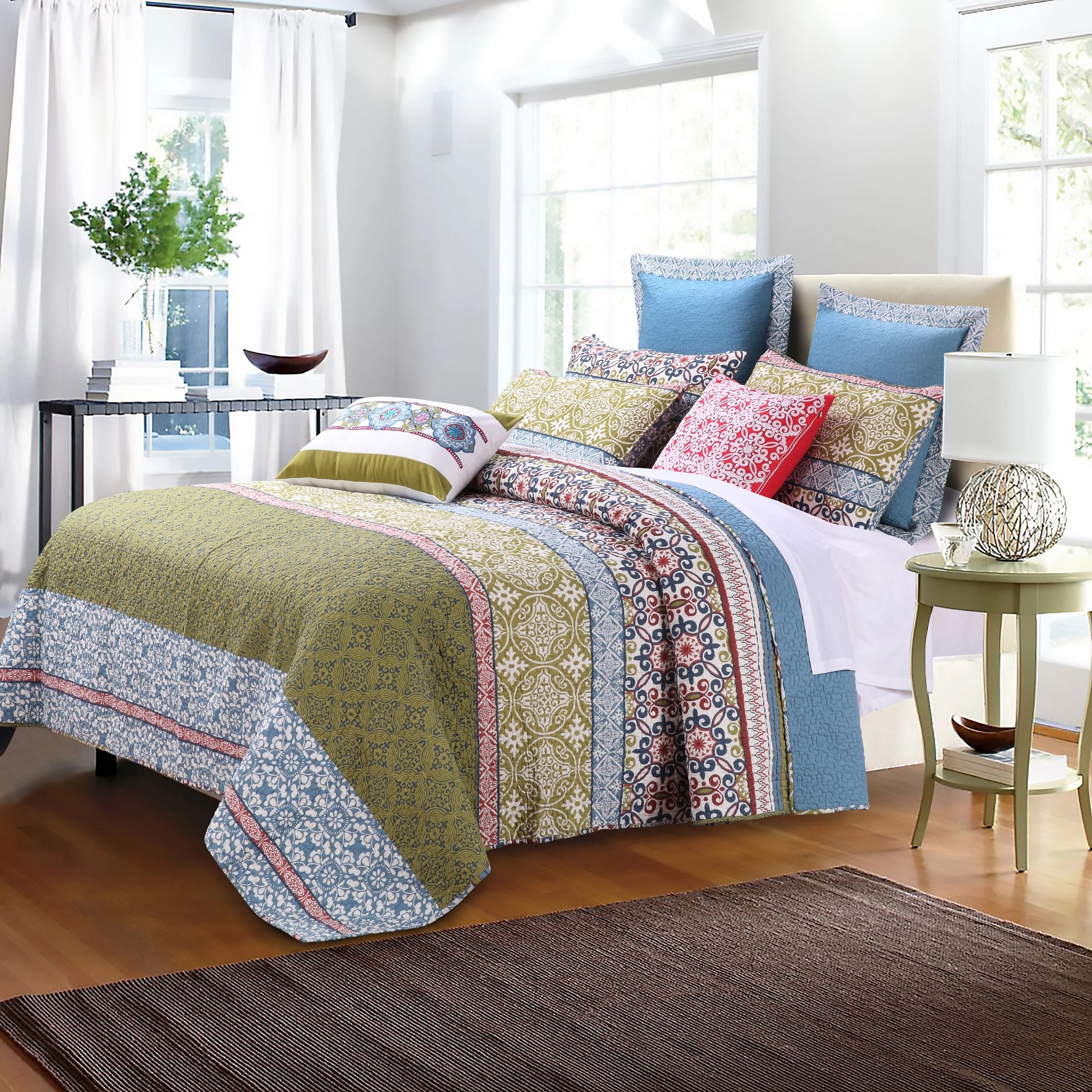 Quilt Sets Greenland Home Fashions Shangri La Oversized Cotton 3 Piece Quilt Set