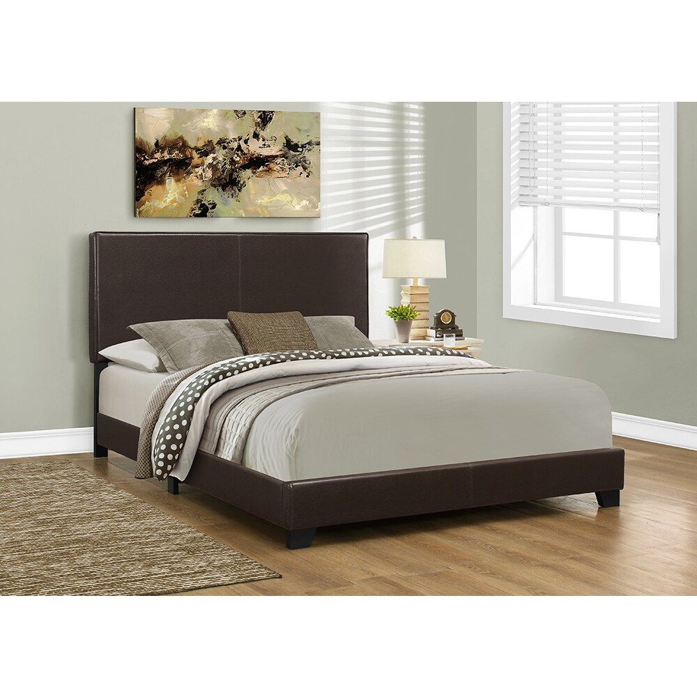 Low Headboard For Under Window Queen Size Dark Brown Leather Look Fabric Bed