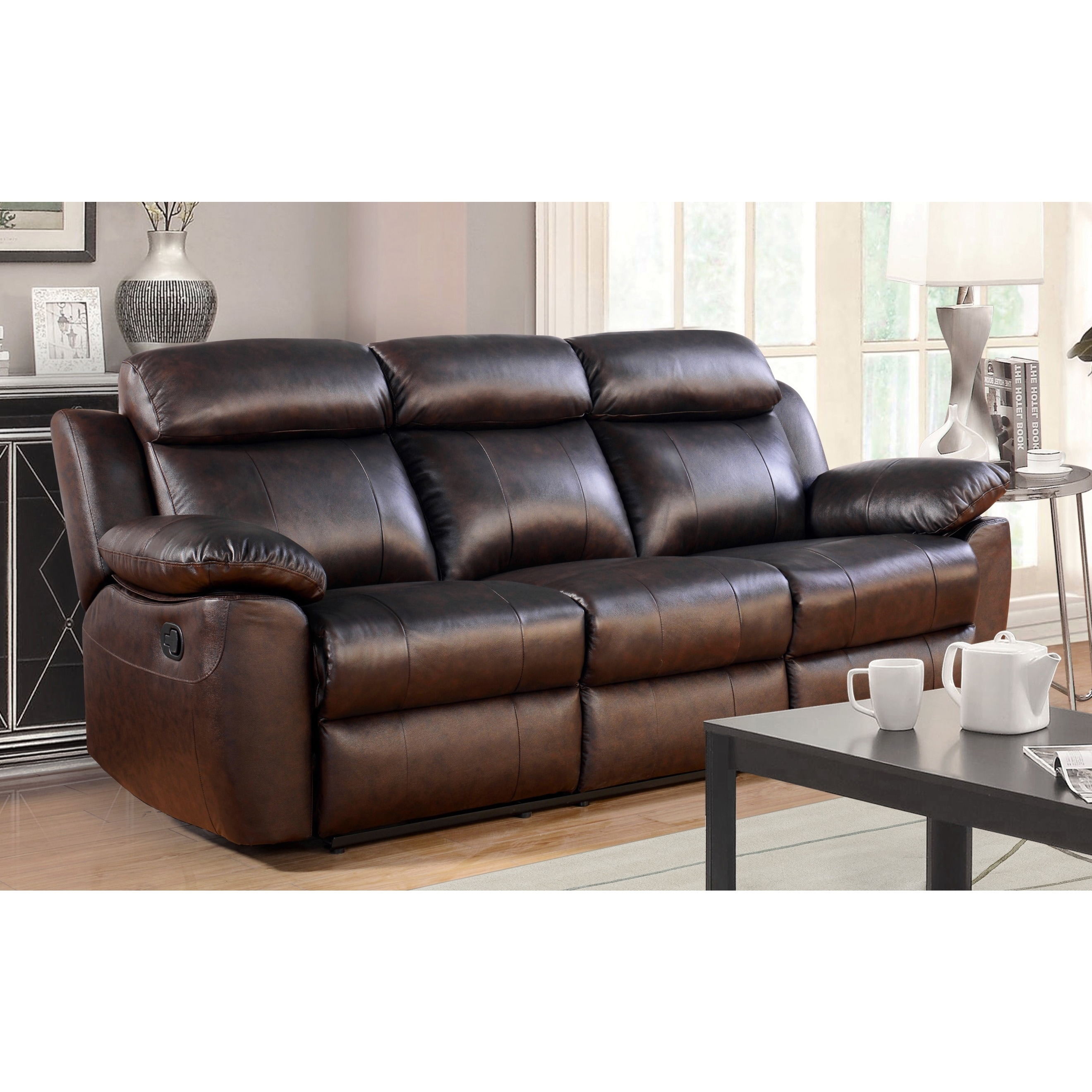 Leather Living Room Furnitures Shop Abbyson Braylen 3 Piece Top Grain Leather Reclining Living