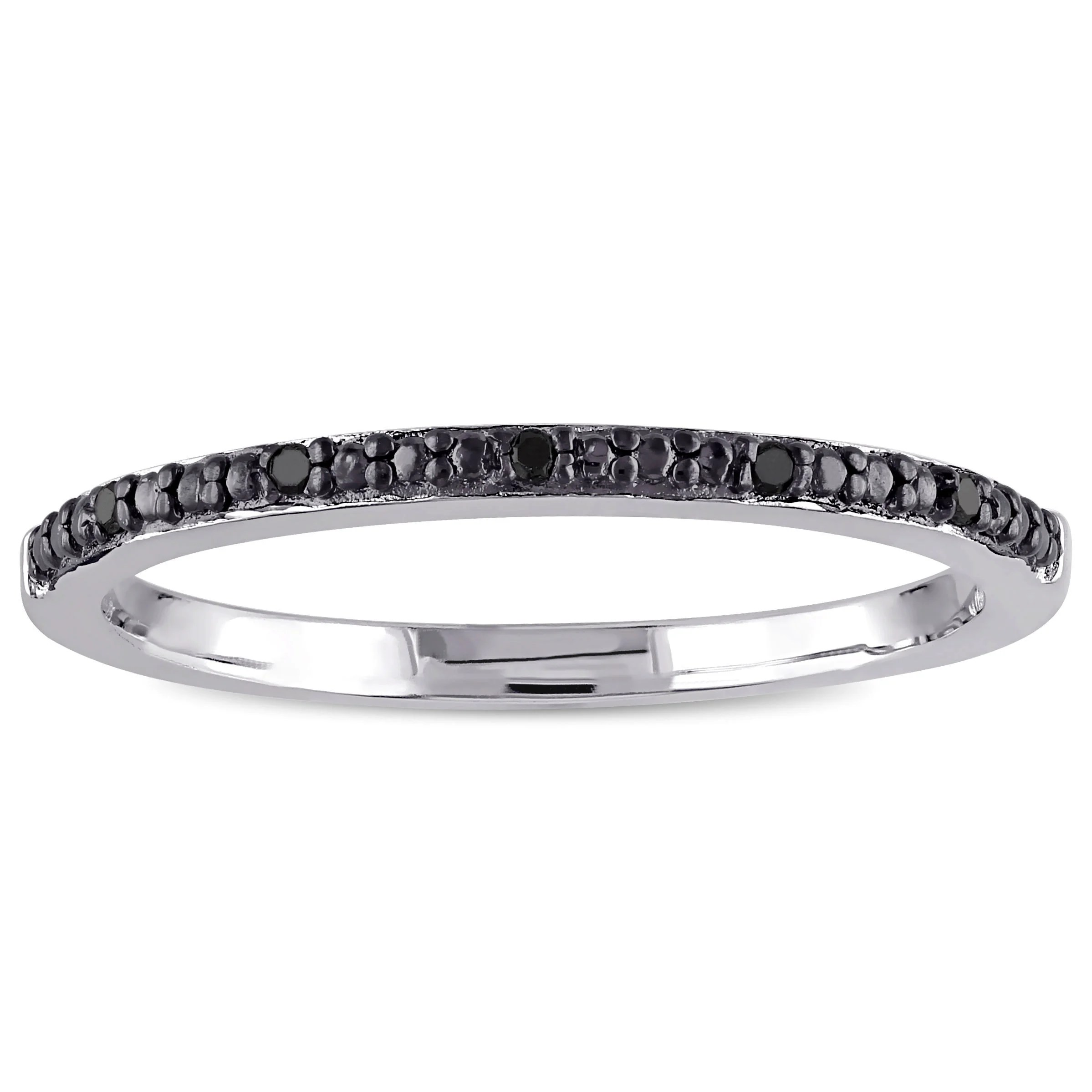 Black Diamond Miadora Sterling Silver Black Diamond Accent Wedding Band