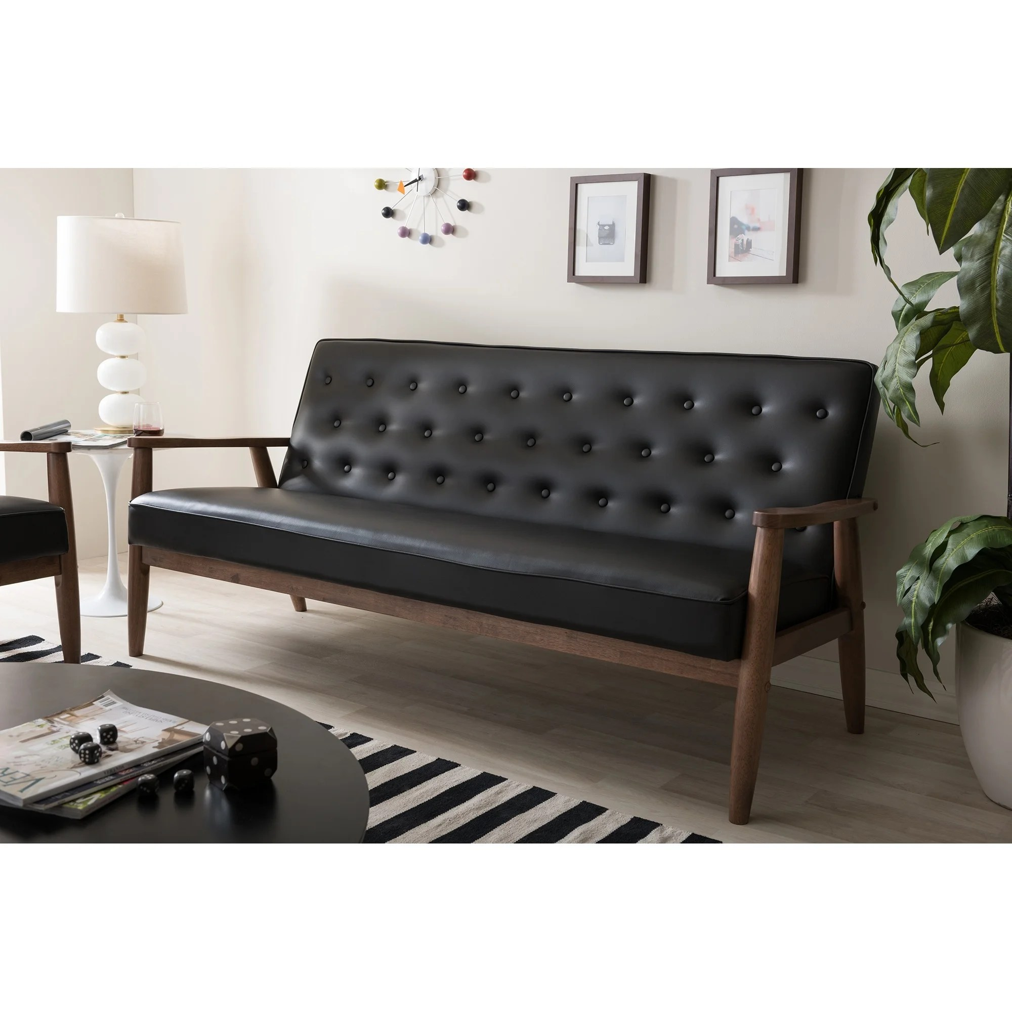 Retro Sofa Leather Baxton Studio Sorrento Mid Century Retro Modern Black Faux Leather Upholstered Wooden 3 Seater Sofa