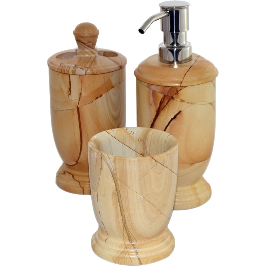 Bathroom Dispenser Set Nature Home Decor Teak Marble 3 Piece Bathroom Accessory Set Of Atlanic Collection