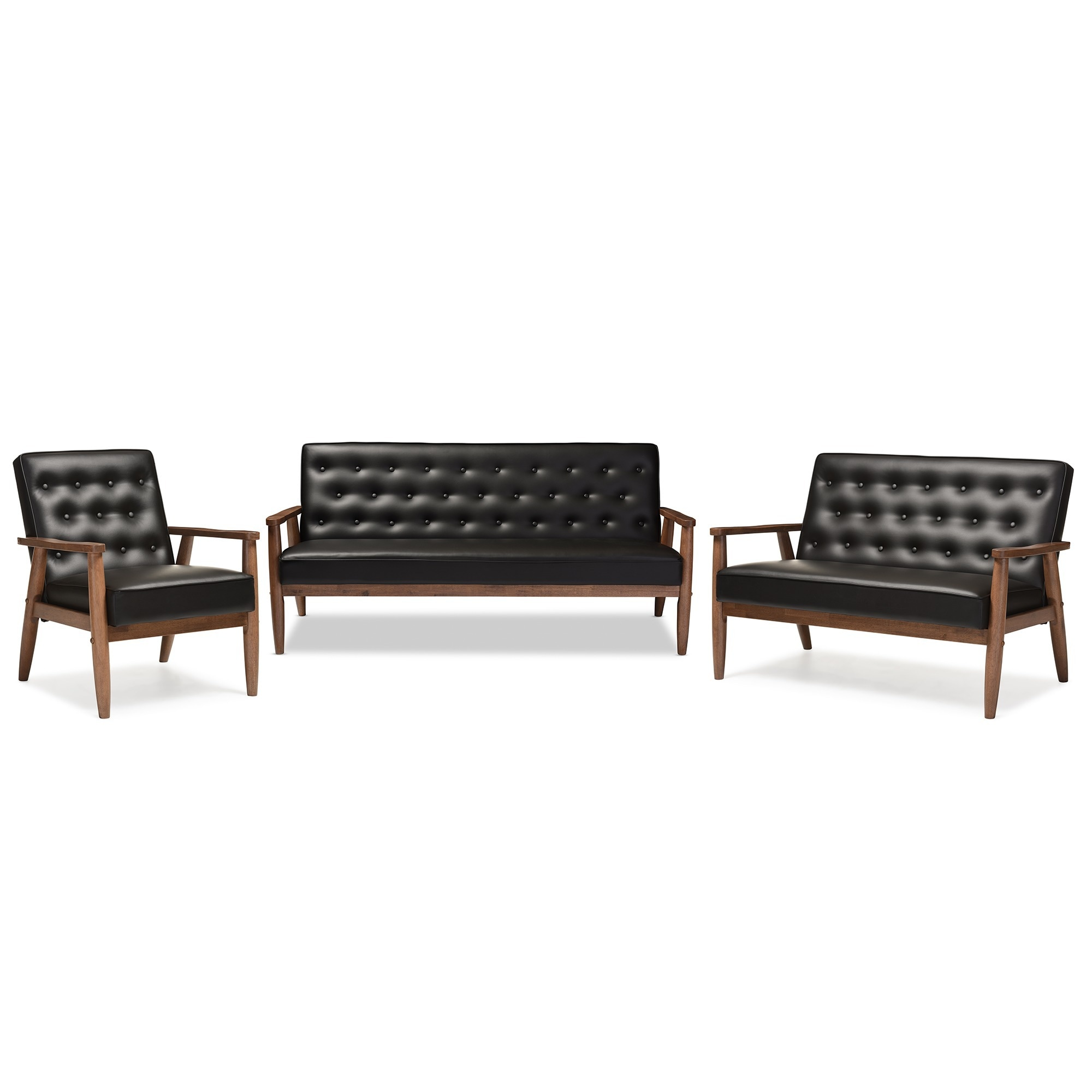 Retro Sofa Leather Baxton Studio Sorrento Mid Century Retro Modern Black Faux Leather Upholstered Wooden 3 Piece Sofa Set