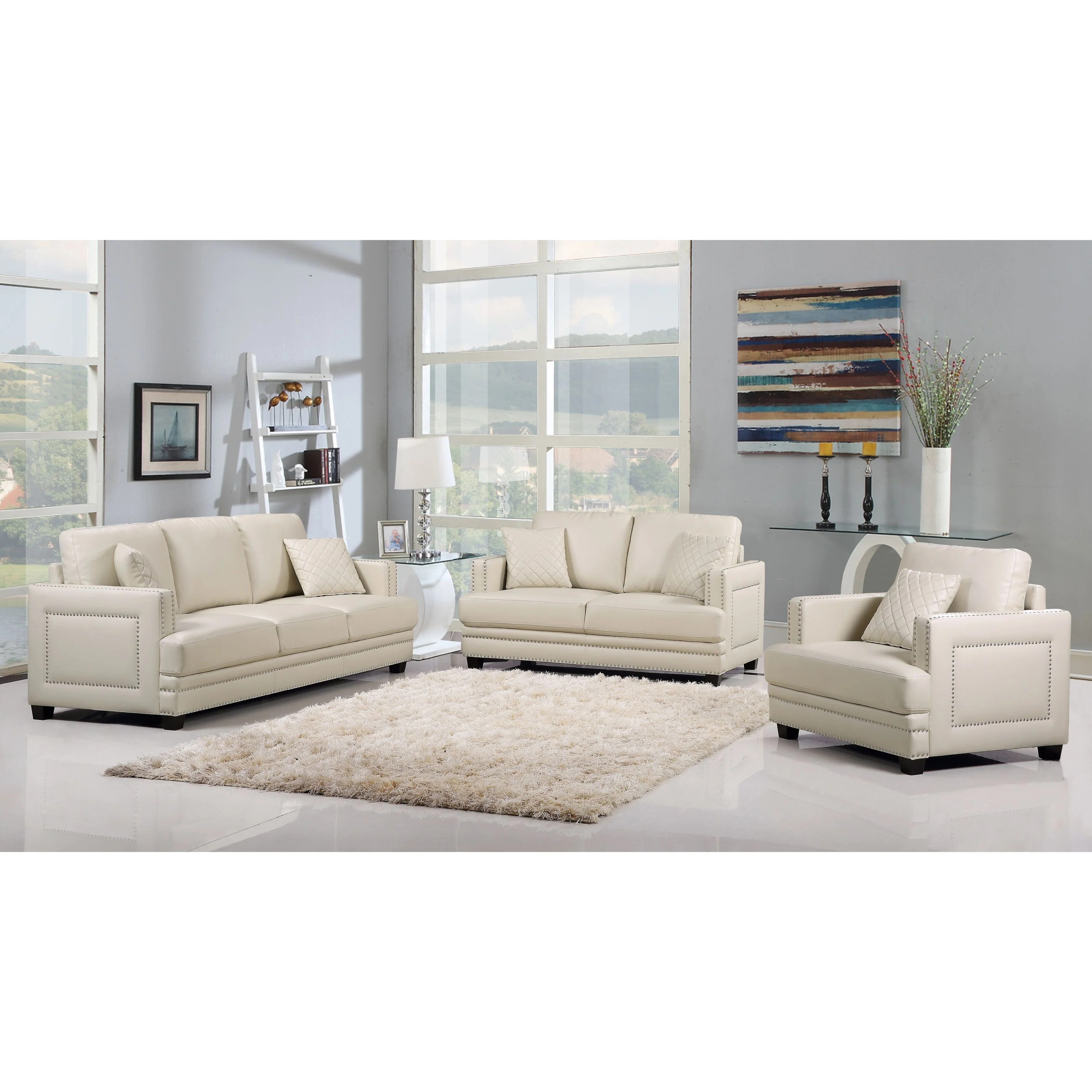 Contemporary Living Set Ferrara Beige Leather Nailhead Modern Contemporary Living Room Set