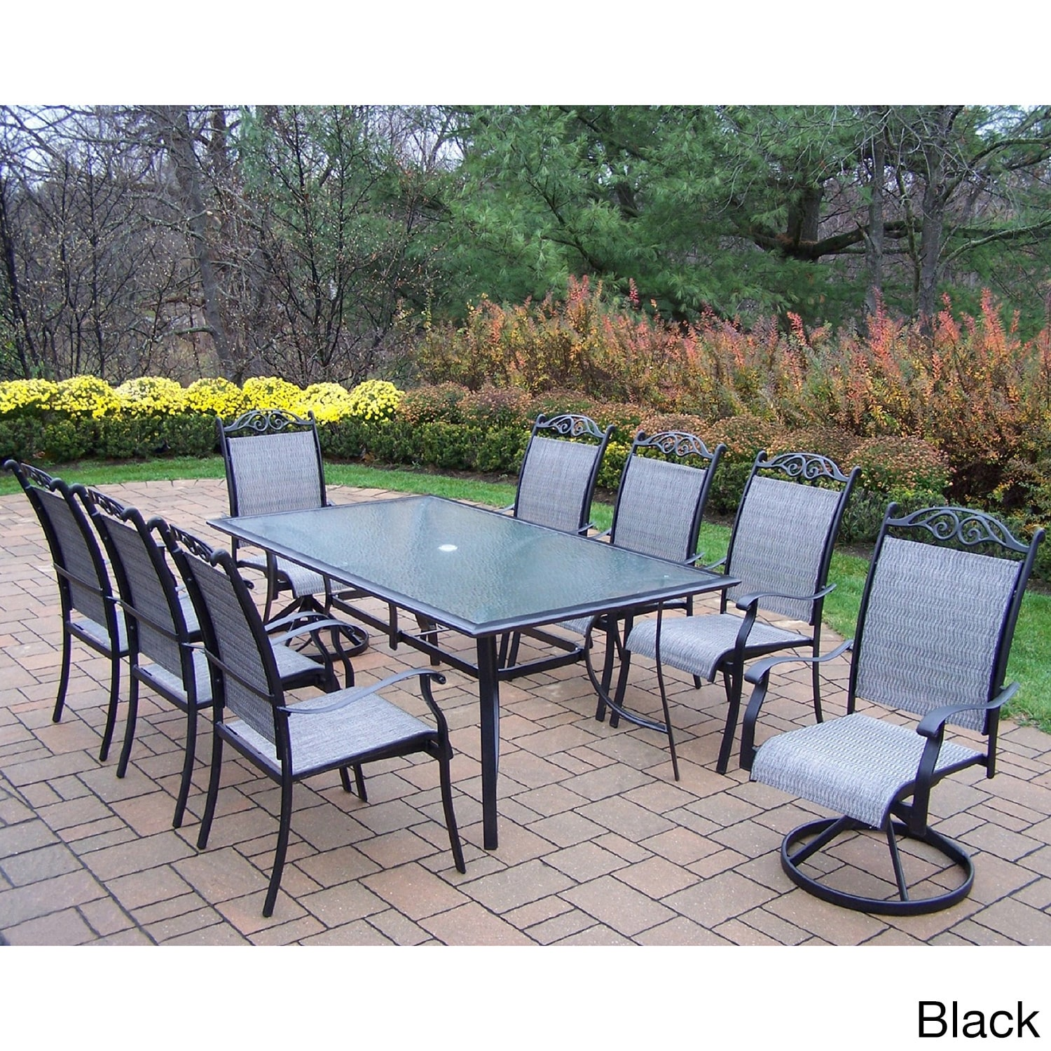 9 Piece Outdoor Dining Set Aluminum Sling 9 Piece Dining Set