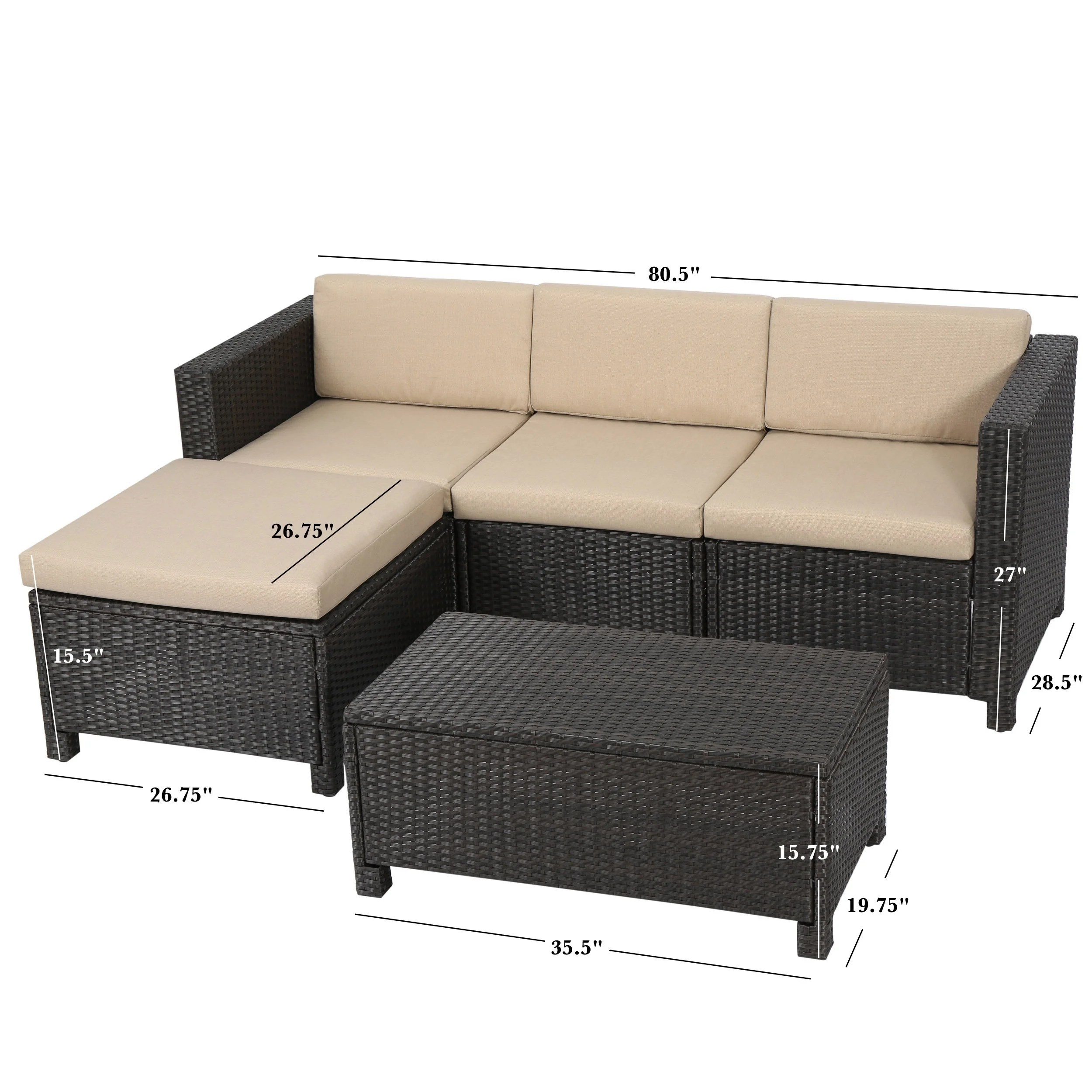 Outdoor Couch Moses 5 Piece Outdoor Sofa Set