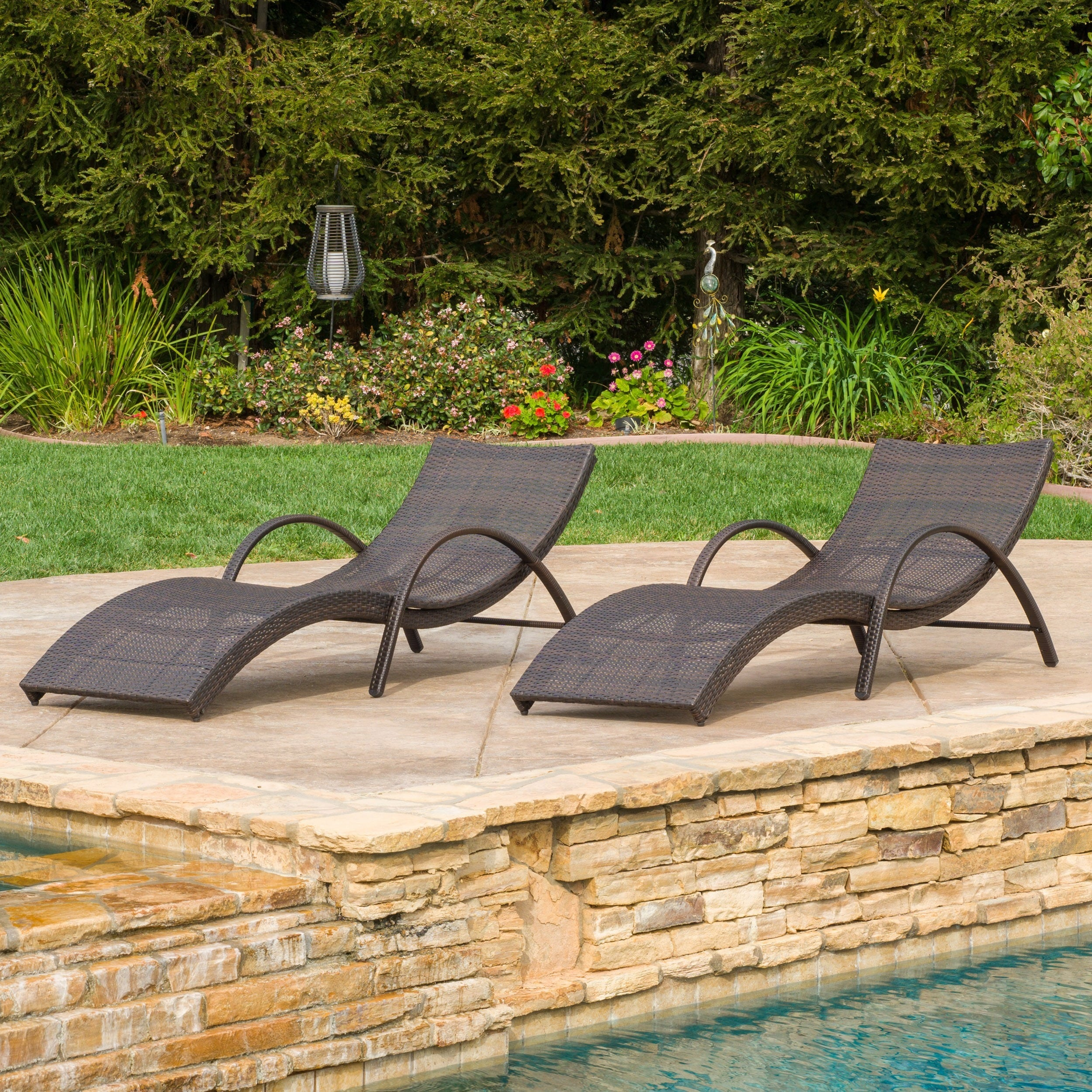 Chaise Longue Acapulco Acapulco Outdoor Wicker Folding Armed Chaise Lounge Set Of 2 By Christopher Knight Home