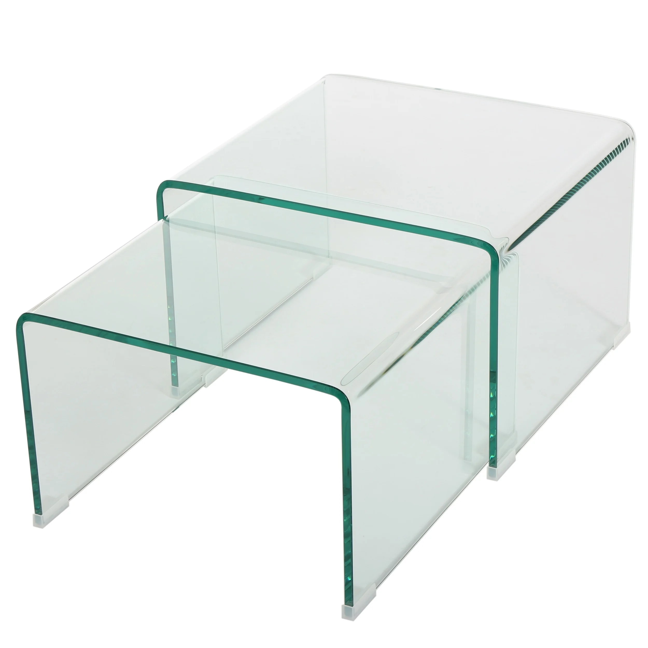 Glass Nesting Tables Ramona Glass Accent Nesting Tables Set Of 2 By Christopher Knight Home