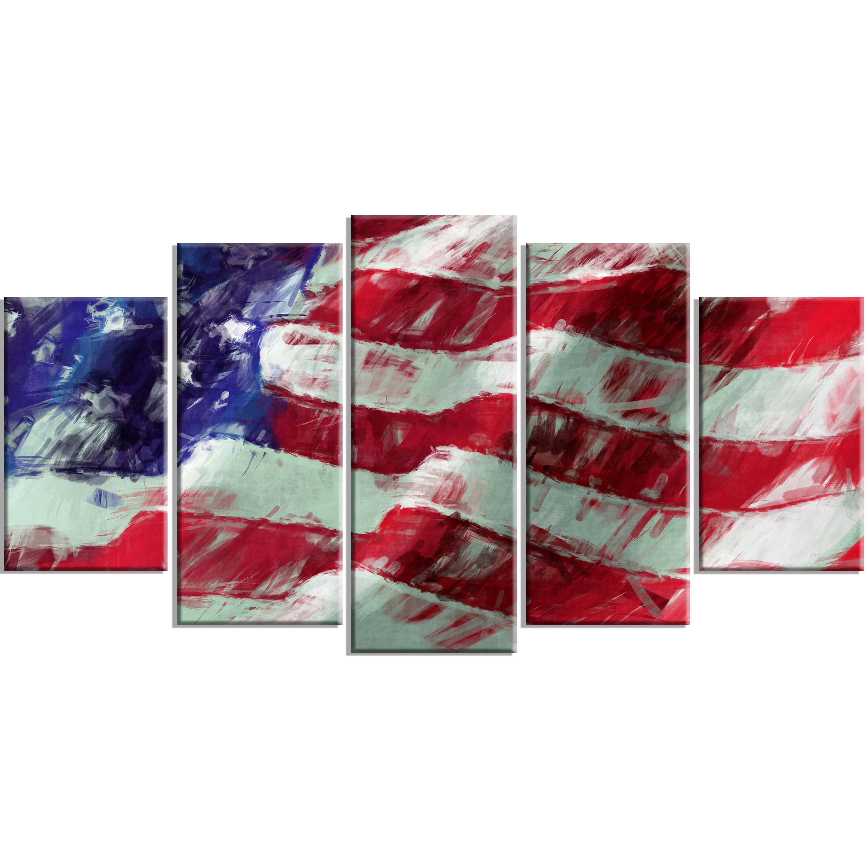 Abstract Art Prints On Canvas Designart Usa Flag Abstract Art 5 Panels Map Flag Canvas Art Print