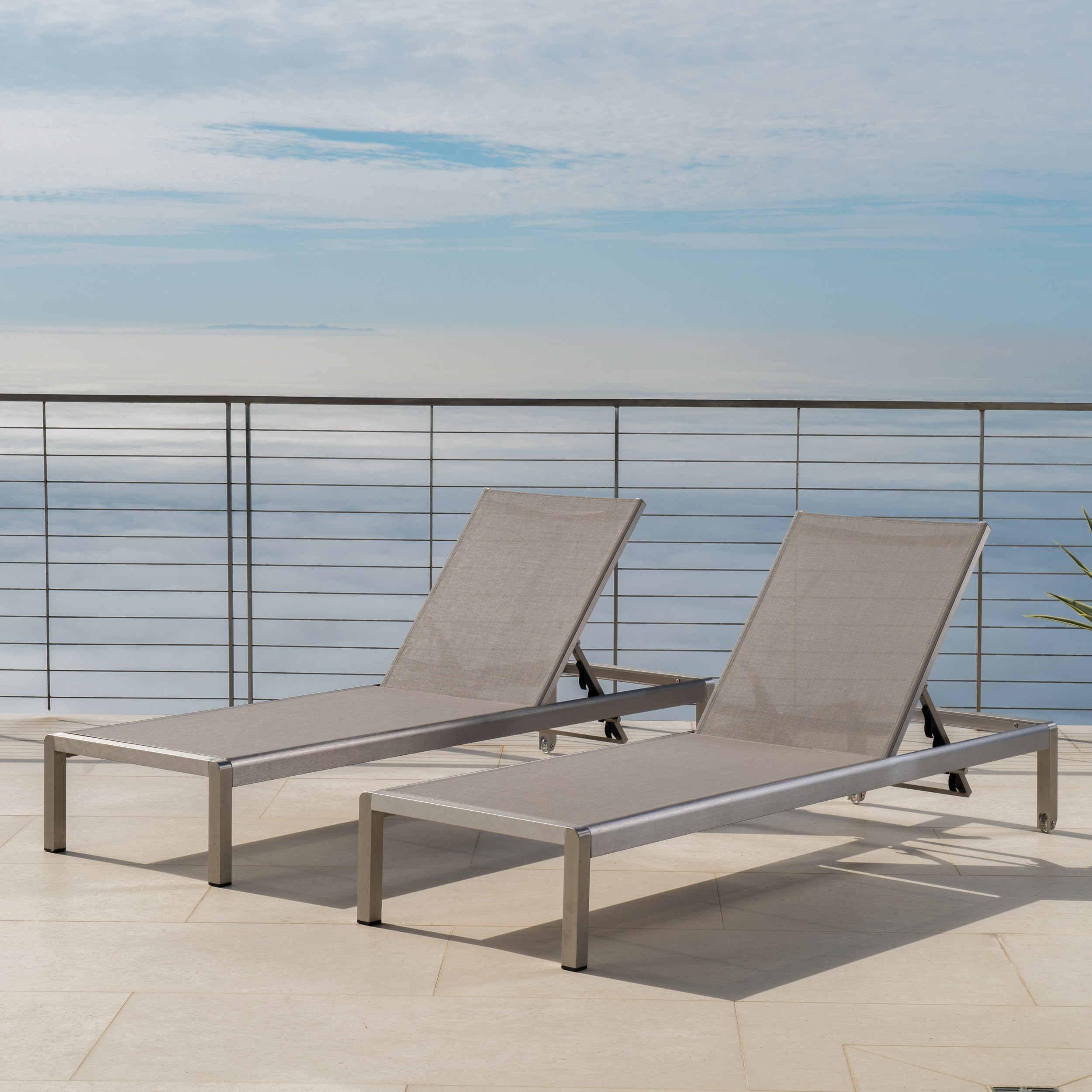 Furniture Chaise Cape Coral Outdoor Aluminum Adjustable Chaise Lounge Set Of 2 By Christopher Knight Home
